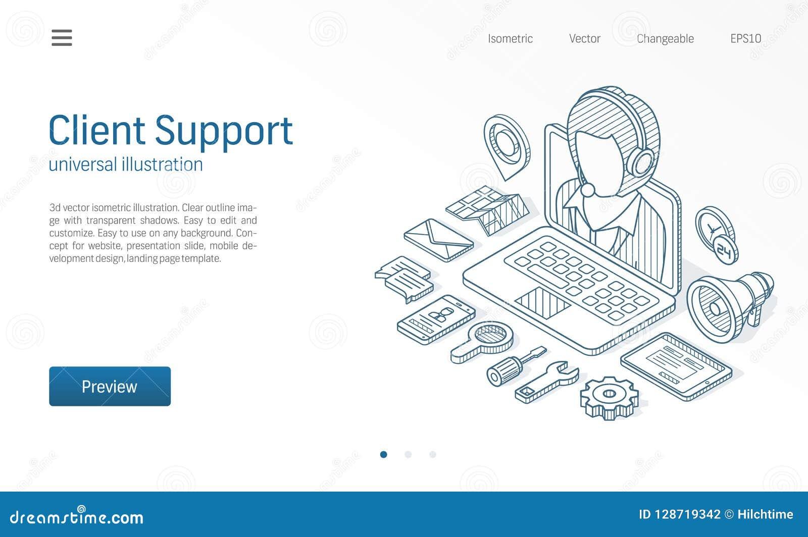 Il cliente, centro di servizio clienti, ci contatta illustrazione al tratto isometrico Chiami il servizio, il servizio d assisten