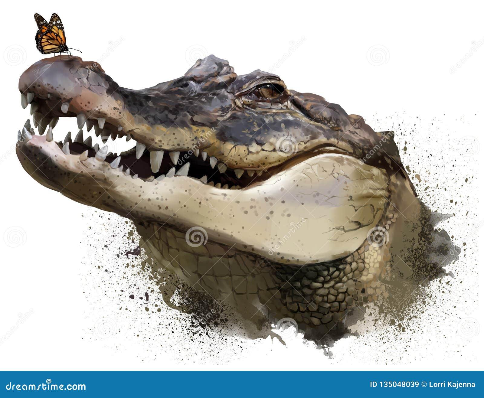 Il coccodrillo e la farfalla di monarca Pittura dell acquerello