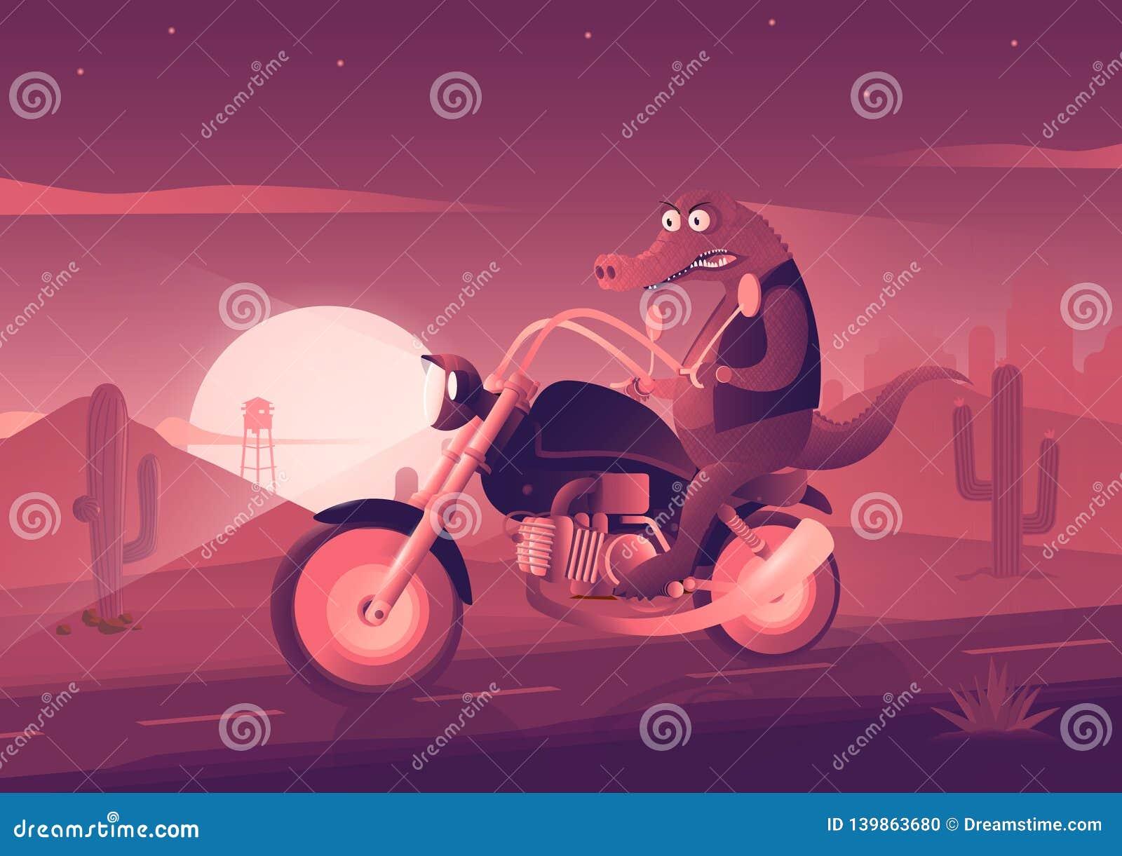 Il coccodrillo sulla bici Illustrazione di arte