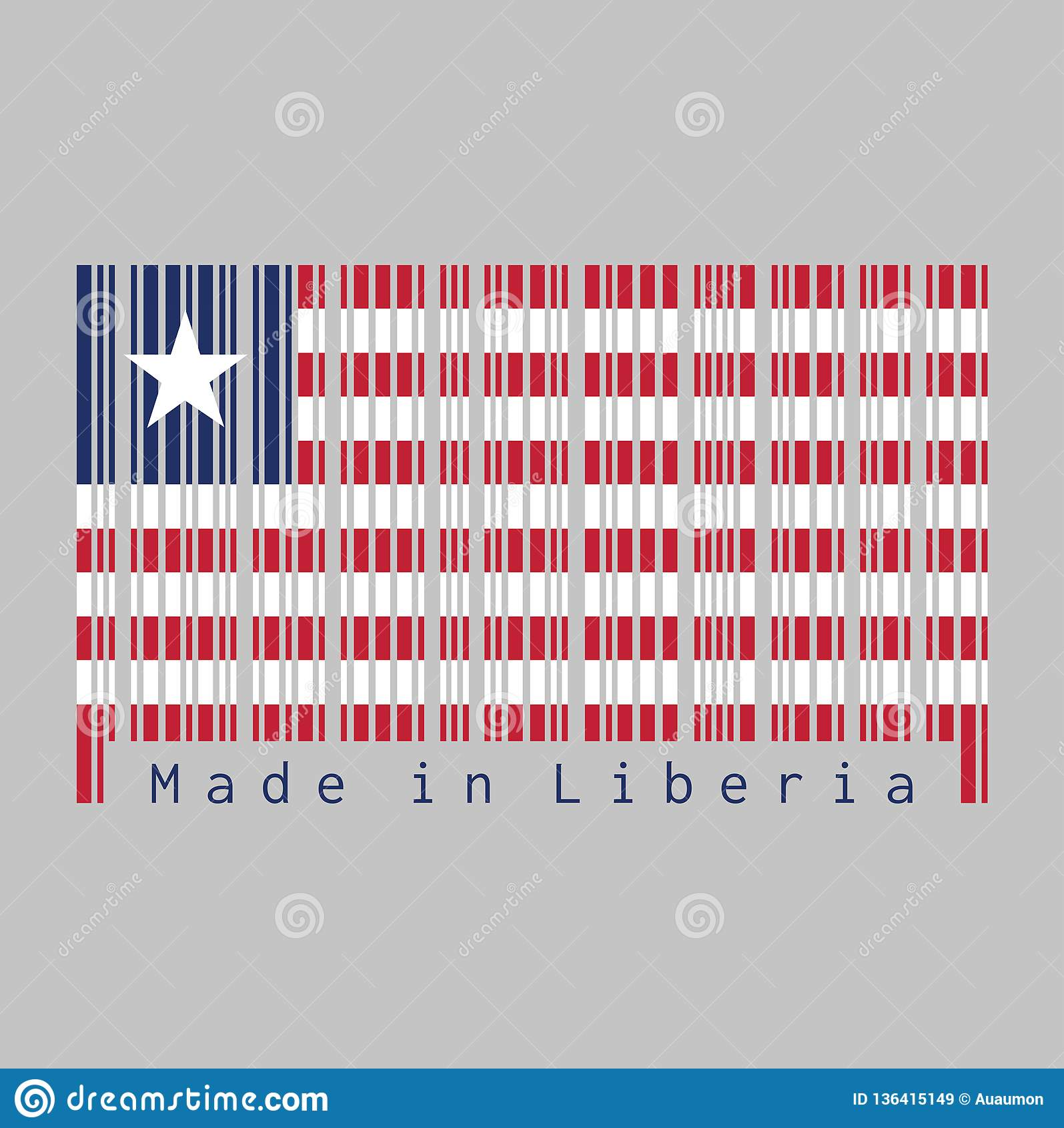 Il codice a barre ha fissato il colore della bandiera della Liberia, undici bande orizzontali di rosso e di bianco con la stella