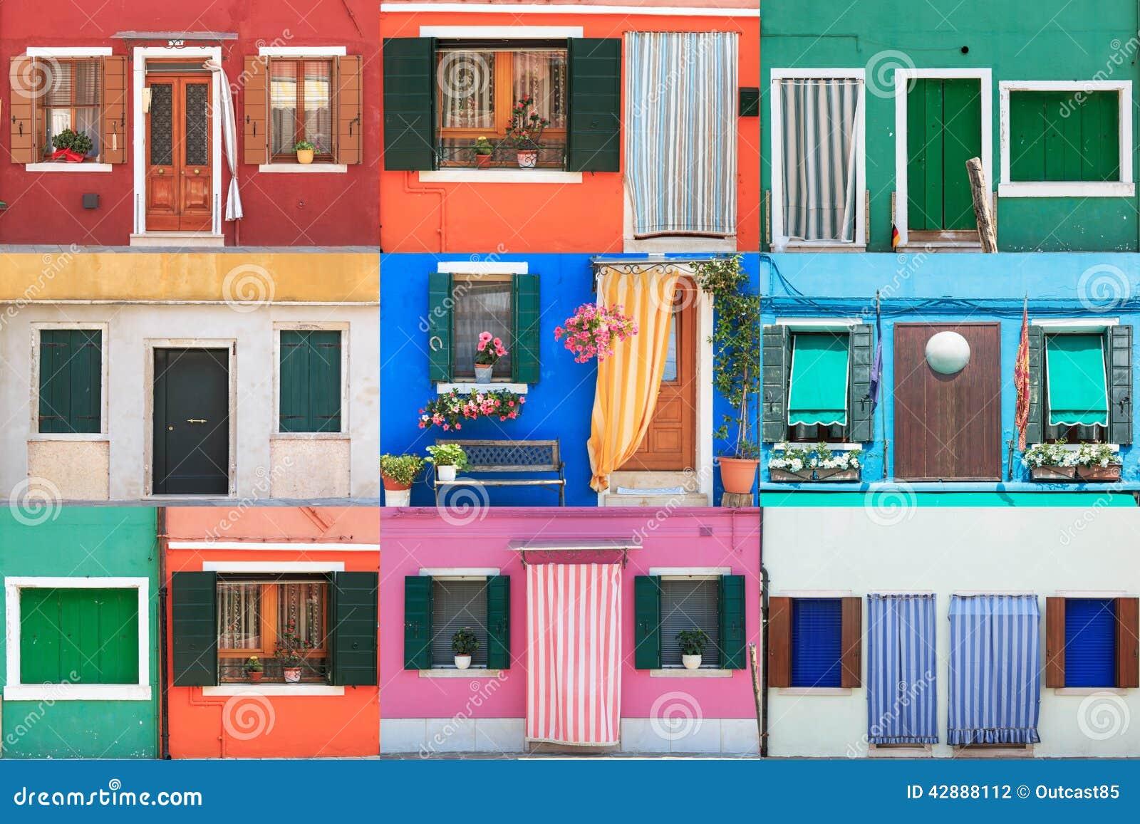 Il Collage Di Burano Ha Colorato Le Case - Venezia Fotografia Stock - Immagin...