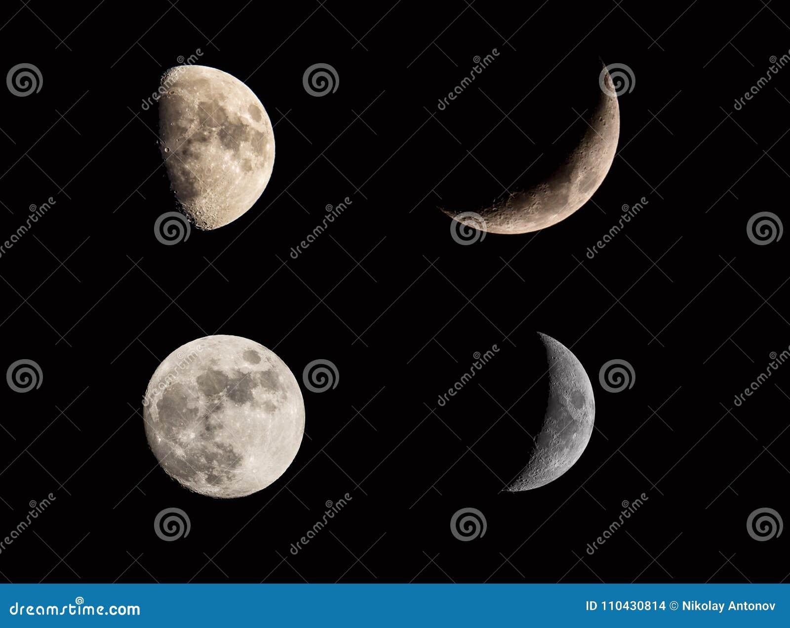 Il collage di fasi di eclissi lunare della luna ha messo sul cielo nero Mezzaluna e luna piena Strutture cosmiche della luna per