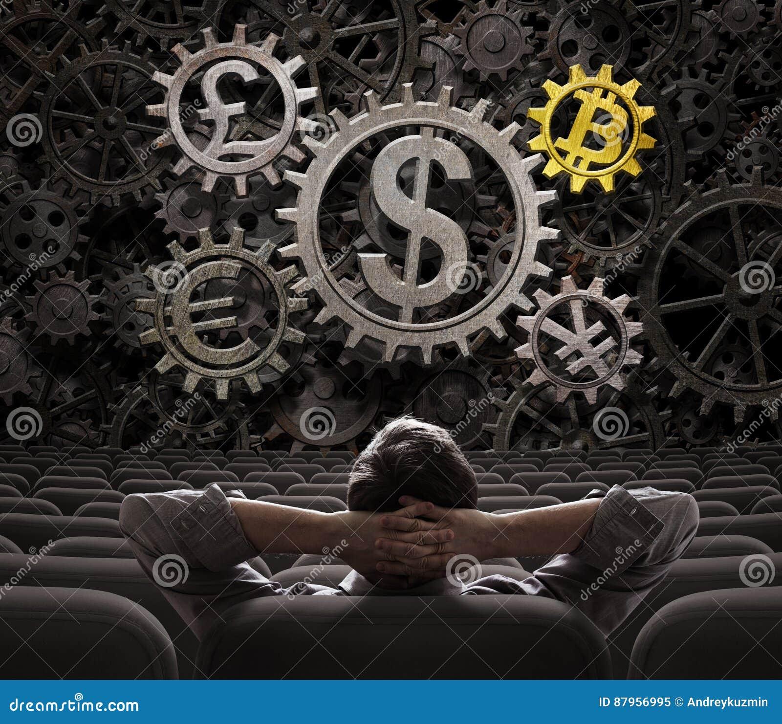 Il commerciante o l investitore che considera le valute innesta l inclusione dell illustrazione del bitcoin 3d