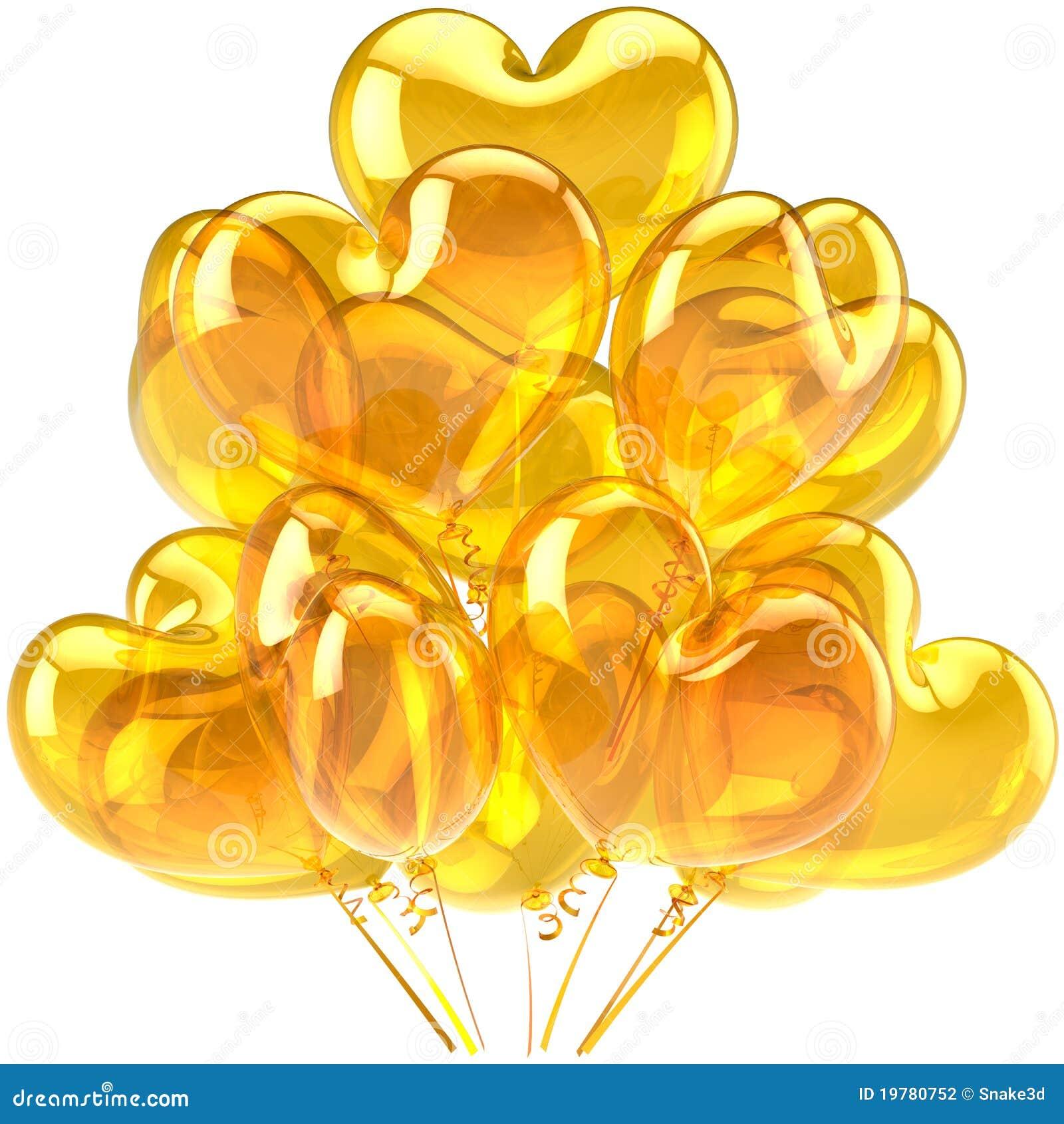 Il compleanno balloons il colore giallo a forma di cuore for Oggetti di colore giallo