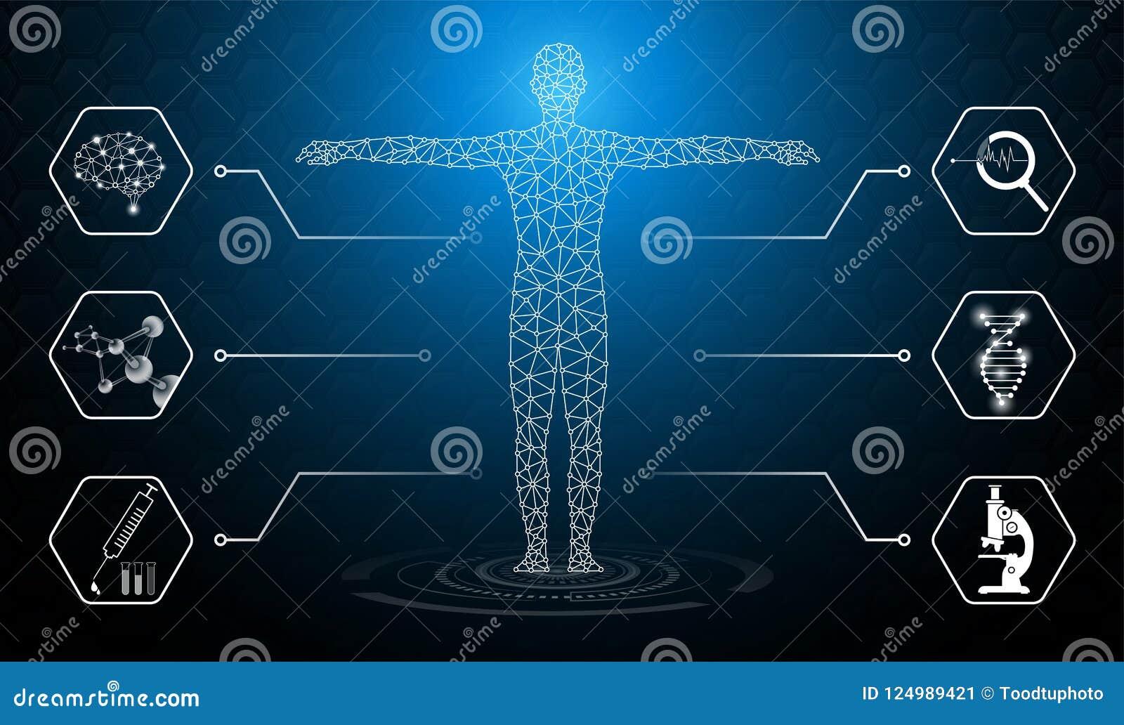 Il concetto astratto della tecnologia del fondo alla luce blu, il cervello ed il corpo umano guariscono