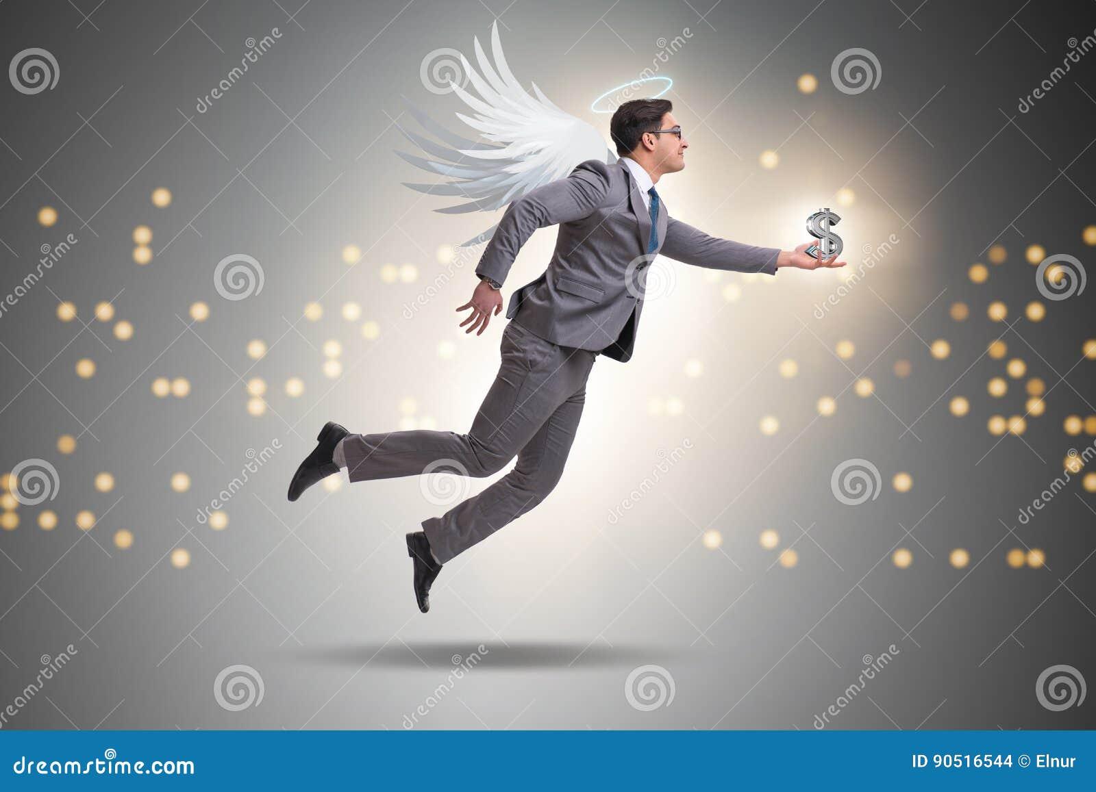 Il concetto dell investitore di angelo con l uomo d affari con le ali
