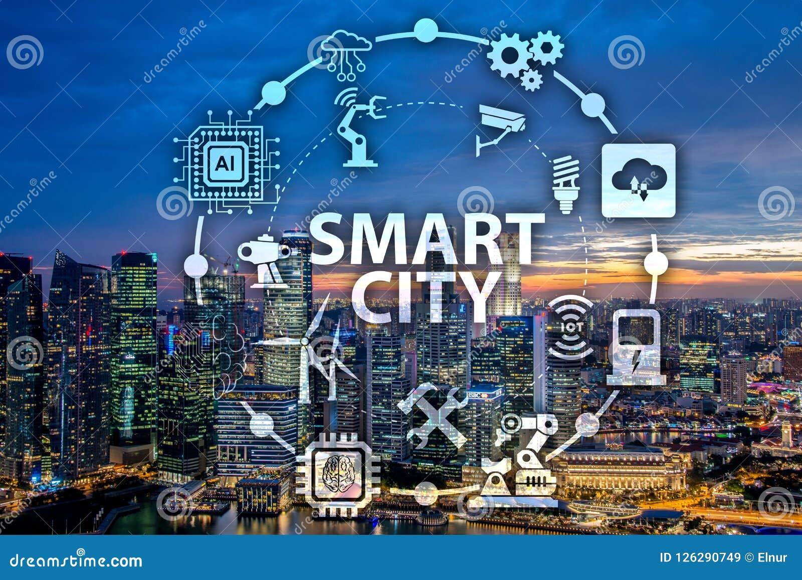 Il concetto della città e di Internet astuti delle cose