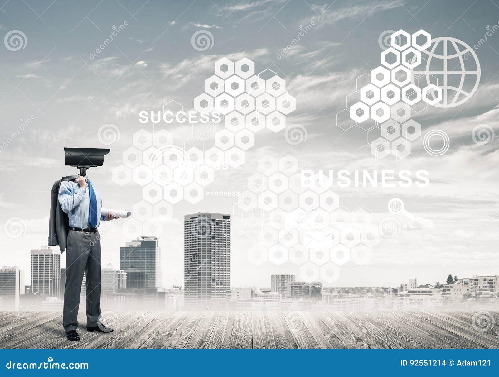 Il concetto della protezione di segretezza e di sicurezza con la macchina fotografica ha diretto il mA