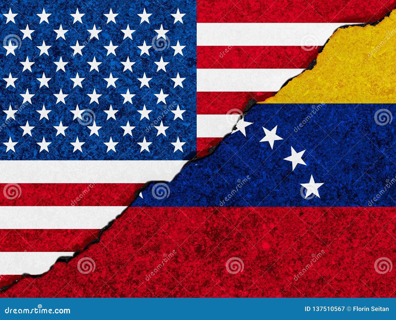 Il concetto delle relazioni/conflitto fra il Venezuela e gli Stati Uniti d America ha simbolizzato le bandiere dipinte su una par