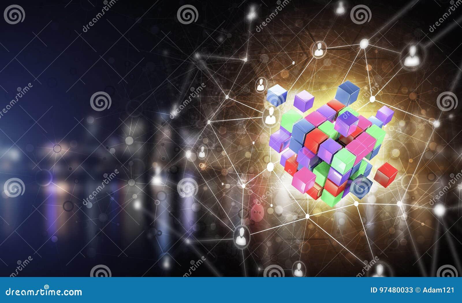 Il concetto di Internet e la rete con il cubo digitale dipendono la d