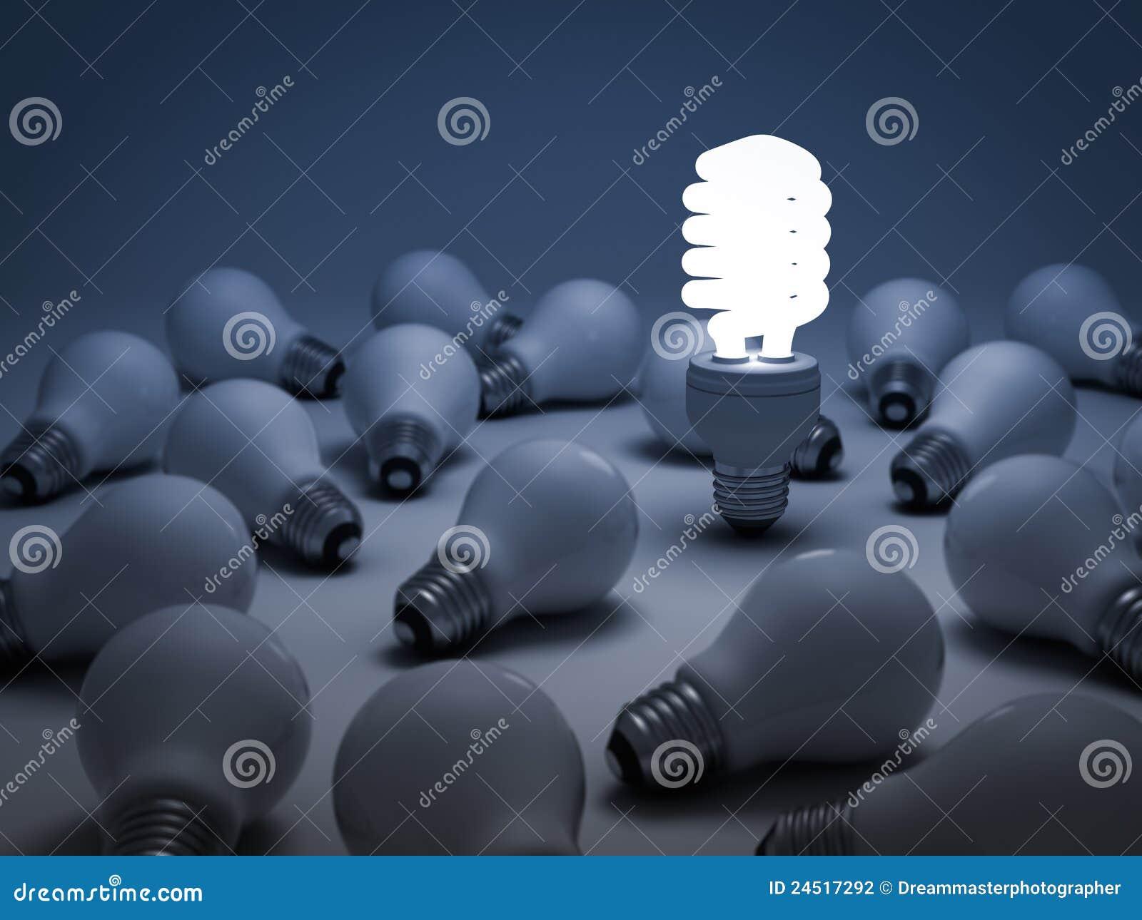 Il concetto differente, lampadina di risparmio di energia di Eco