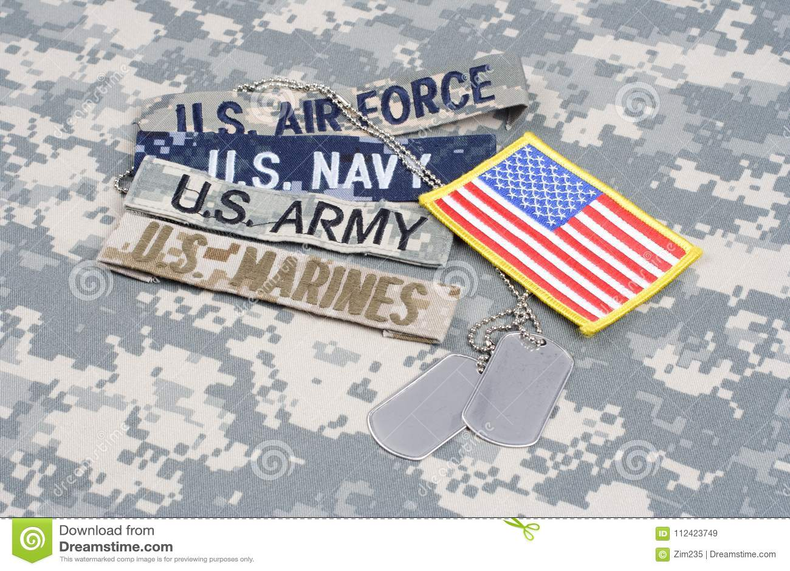 Il concetto MILITARE degli Stati Uniti con nastri adesivi del ramo e le medagliette per cani su cammuffamento uniformano