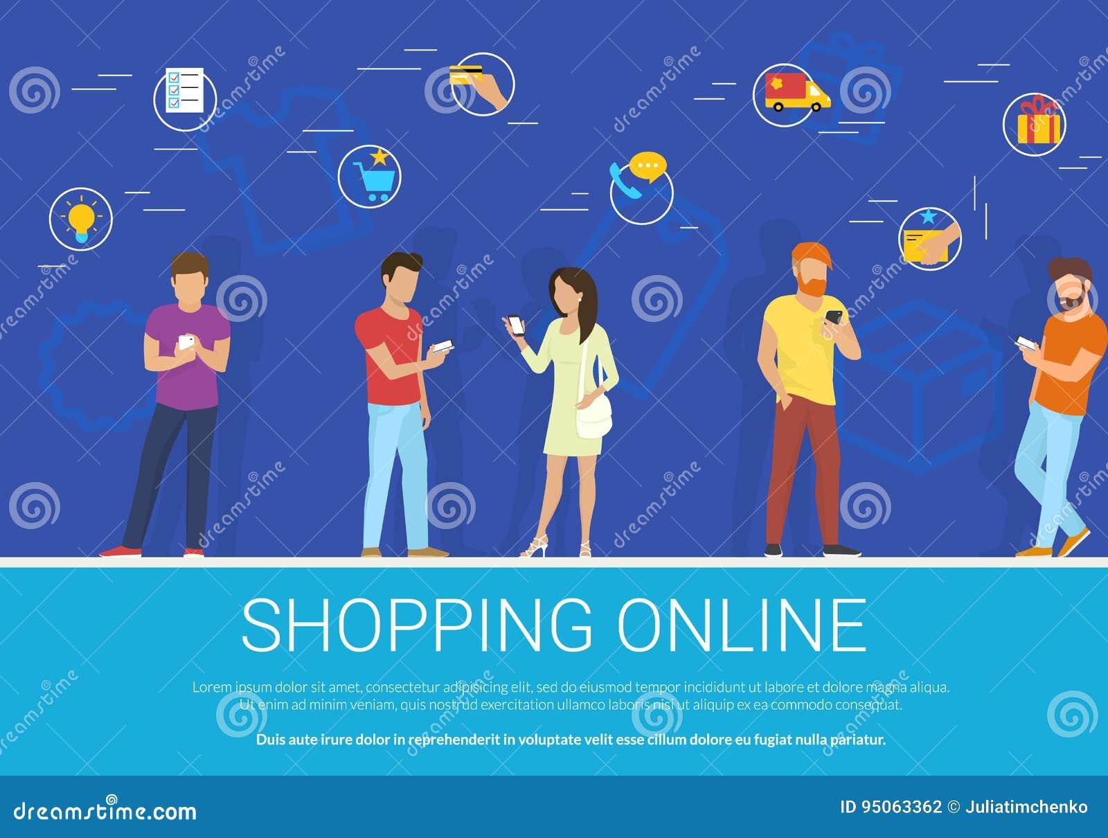 Il concetto online di compera vector l illustrazione del gruppo di persone che per mezzo dello smartphone mobile per l acquisto d
