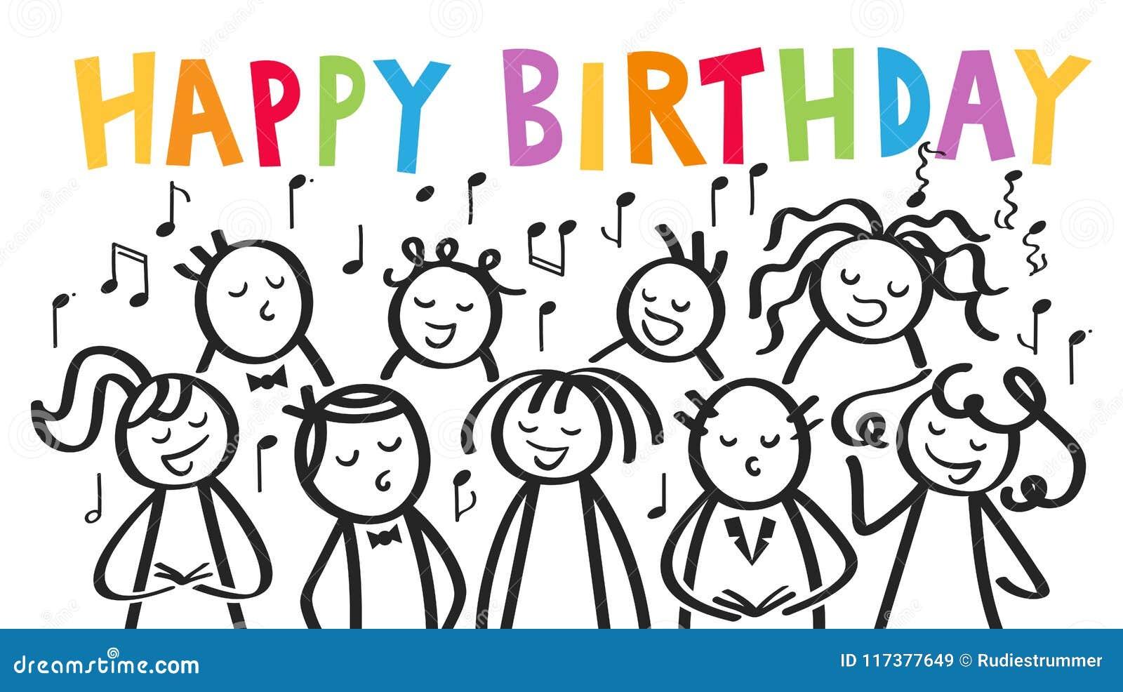Il Coro Gli Uomini E Le Donne Cantanti Il Buon Compleanno Bastone