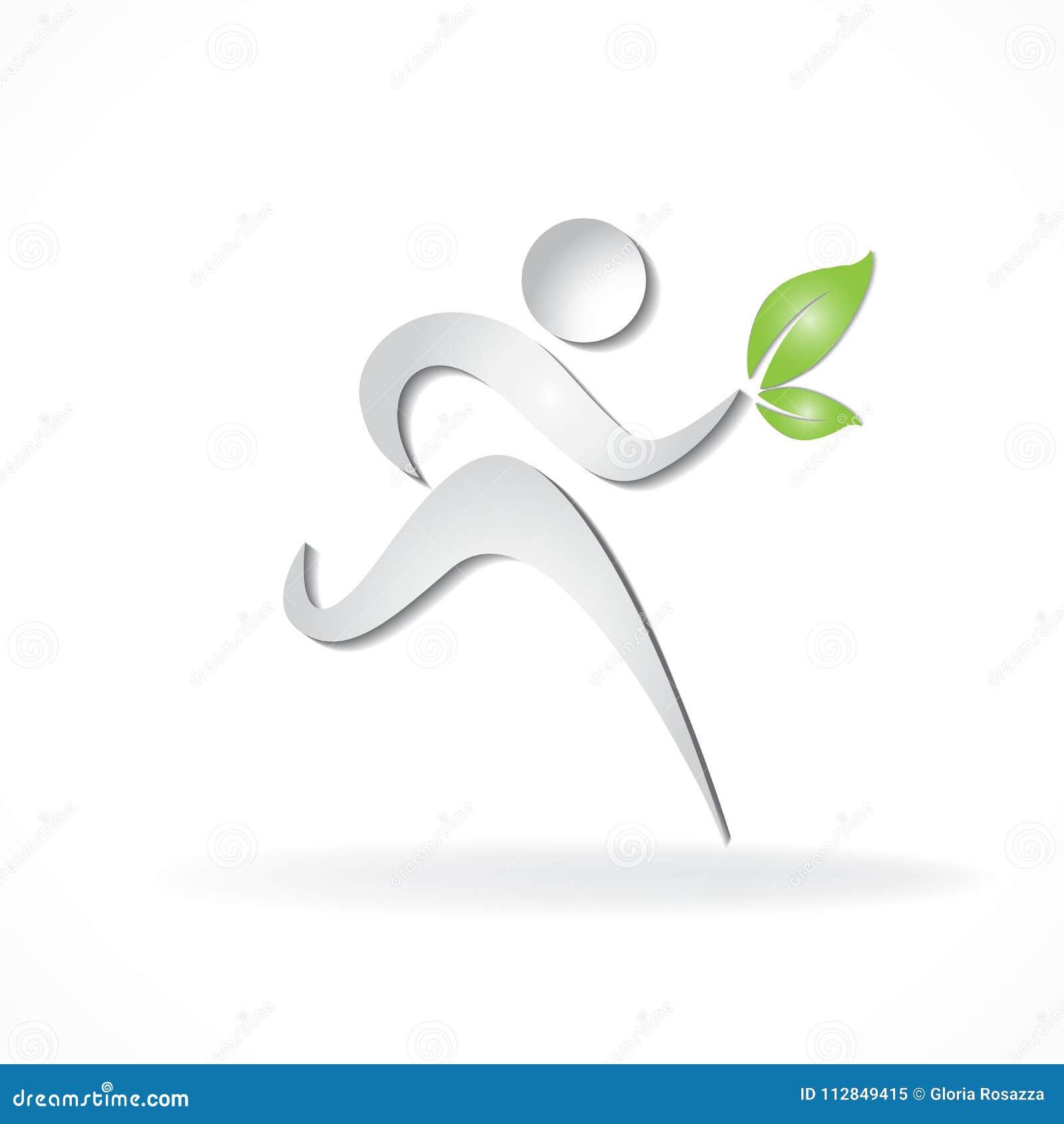 Il corridore in buona salute e felice con verde copre di foglie logo di affari della carta di identificazione di simbolo di vetto