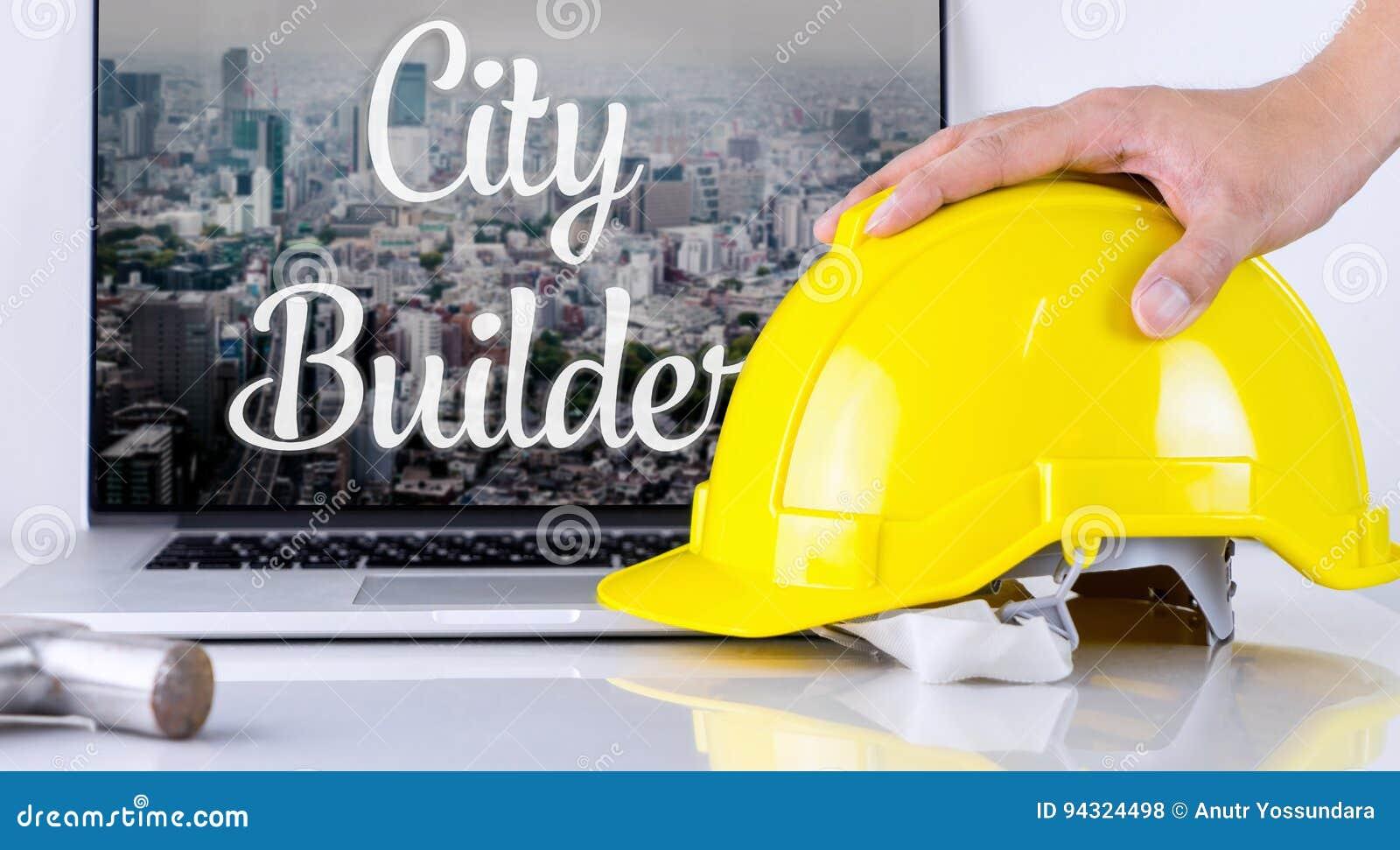 Il costruttore della città sta prendendo il casco di sicurezza