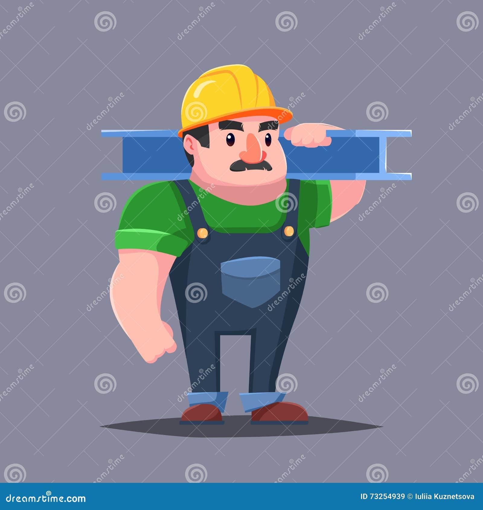 Il costruttore in elmetto protettivo con i muscoli baffi dell uomo