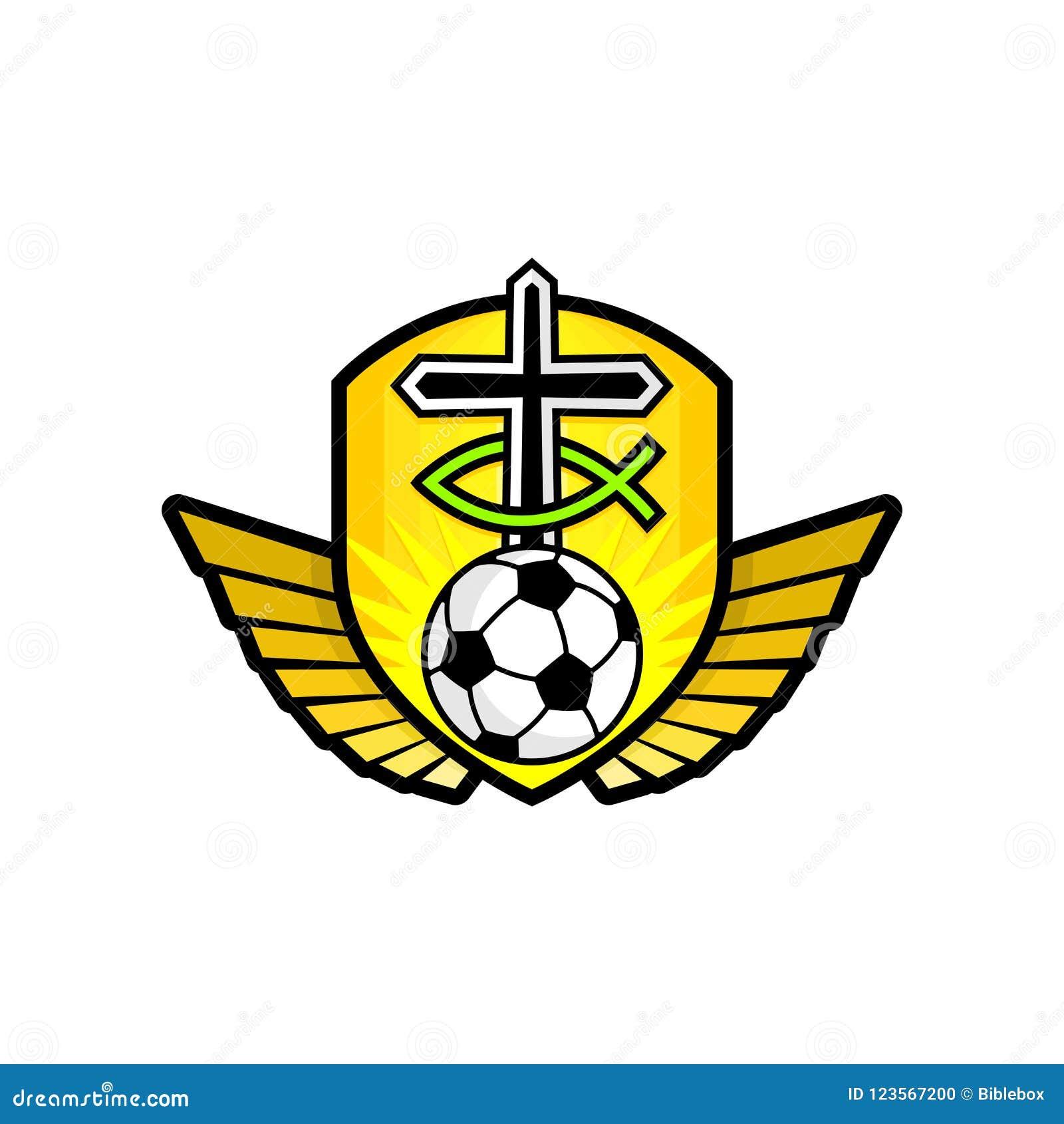 Il cristiano mette in mostra il logo Lo schermo dorato, l incrocio di Gesù, il segno del pesce, delle ali e del pallone da calcio