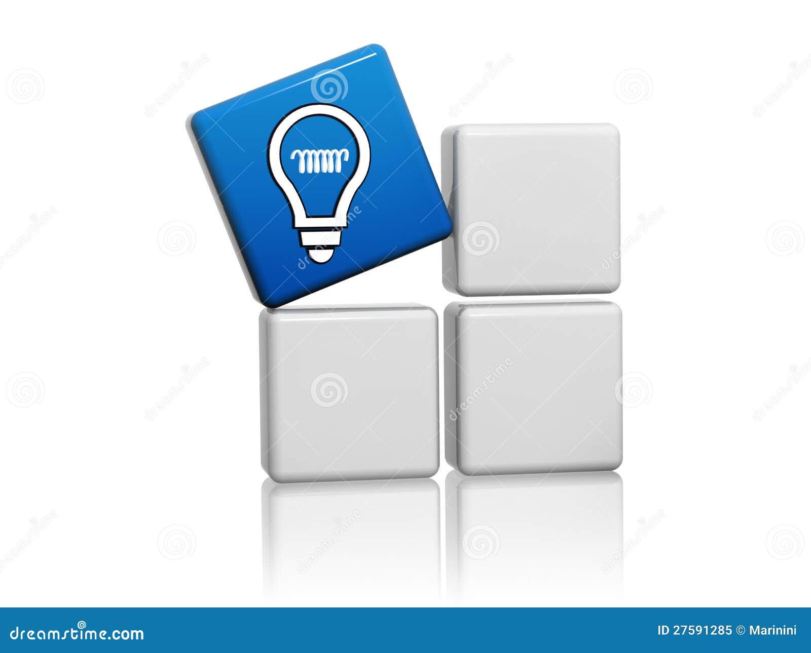 Il cubo blu 3d con il simbolo di idea gradice licona della lampadina ...