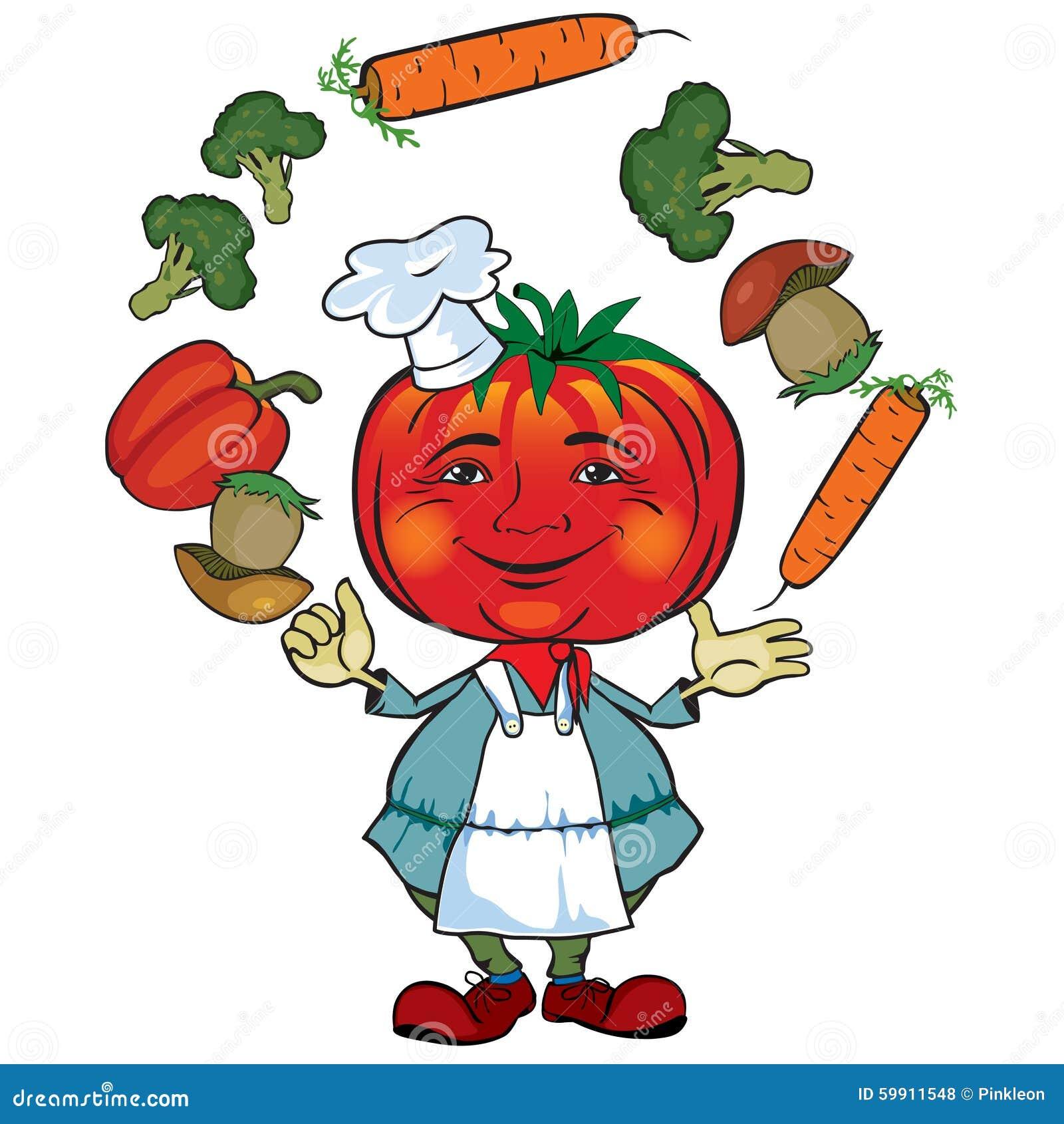 Il cuoco unico del pomodoro manipola le verdure