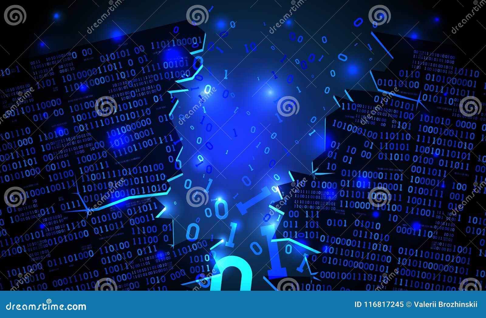 Il Cyberspace futuristico astratto ha inciso la matrice dei dati binari, il codice binario di caduta rotto, fondo della matrice