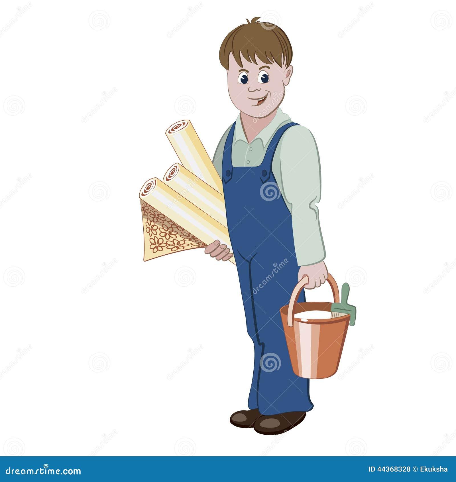 Il decoratore o il tuttofare che sta con i rotoli della carta da parati e di un secchio di colla
