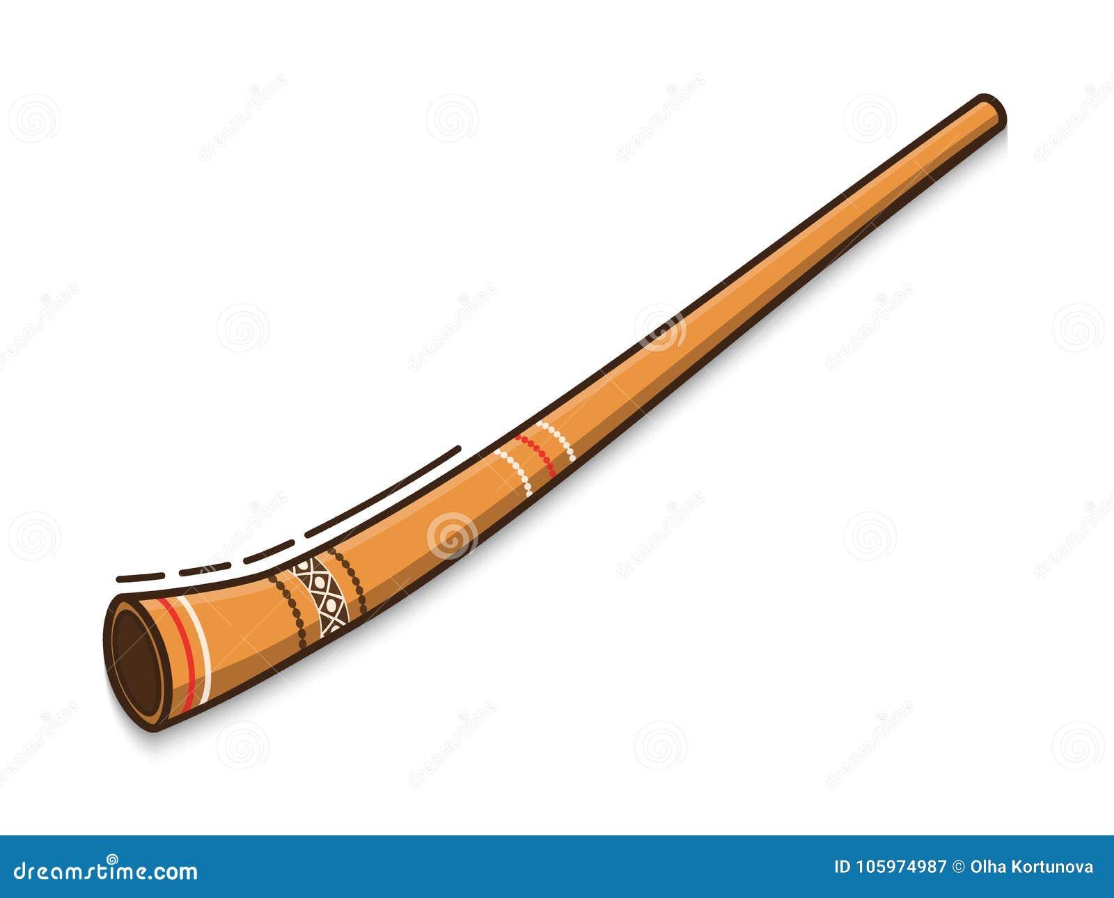 Il didgeridoo è uno strumento musicale tradizionale degli aborigeni australiani Icona piana di vettore su fondo bianco