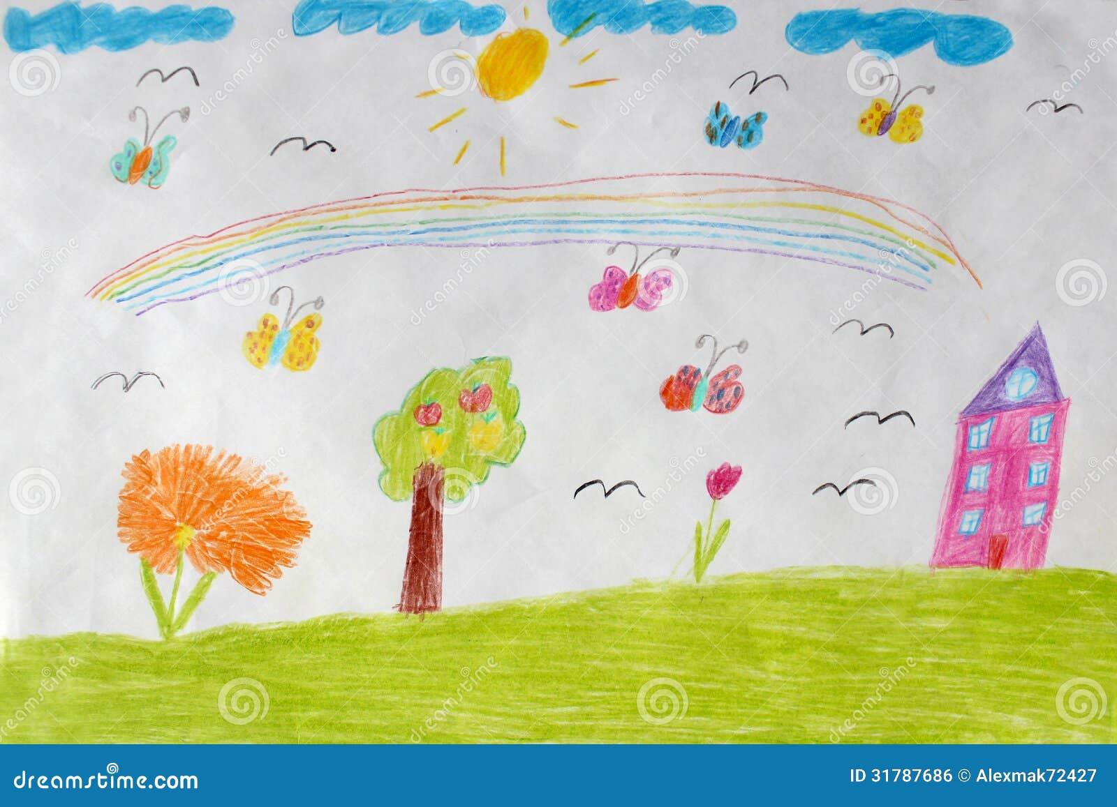 Il disegno dei bambini della casa dei fiori e dell for Programma di disegno della casa libera