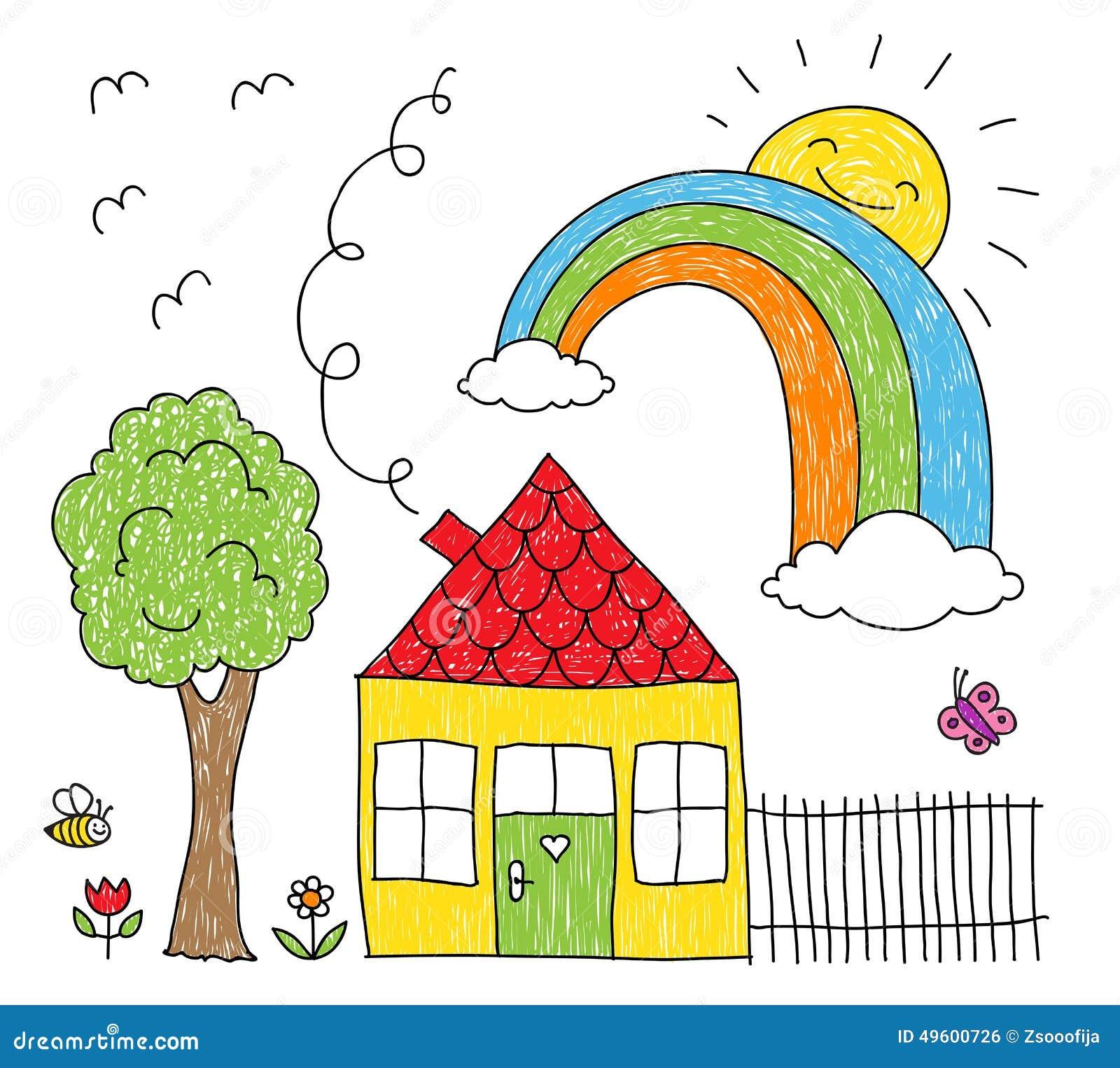 Il disegno del bambino di una casa di un arcobaleno e di for Disegno del programma di casa