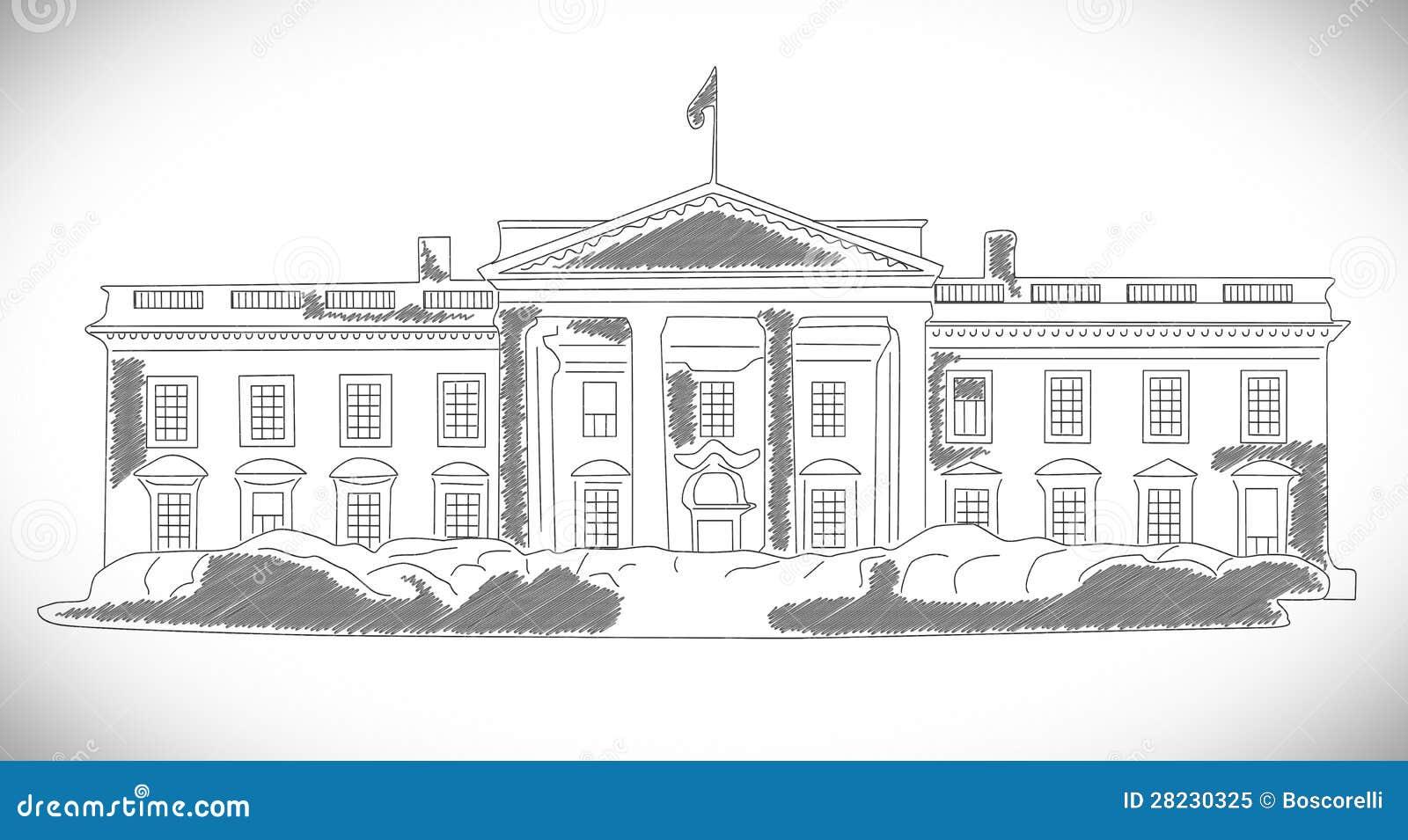 Il disegno disegnato a mano della casa bianca fotografia for Disegno della casa di architettura