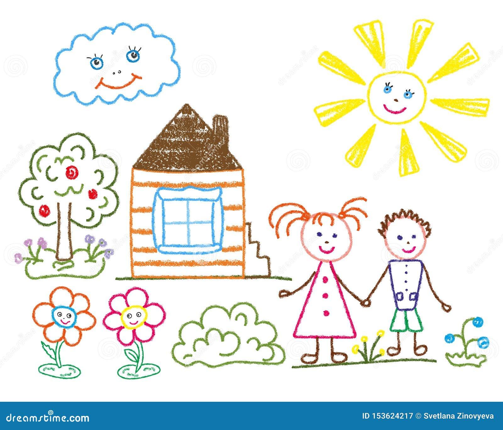 Il disegno a matita dei bambini sul tema di estate, amicizia, famiglia