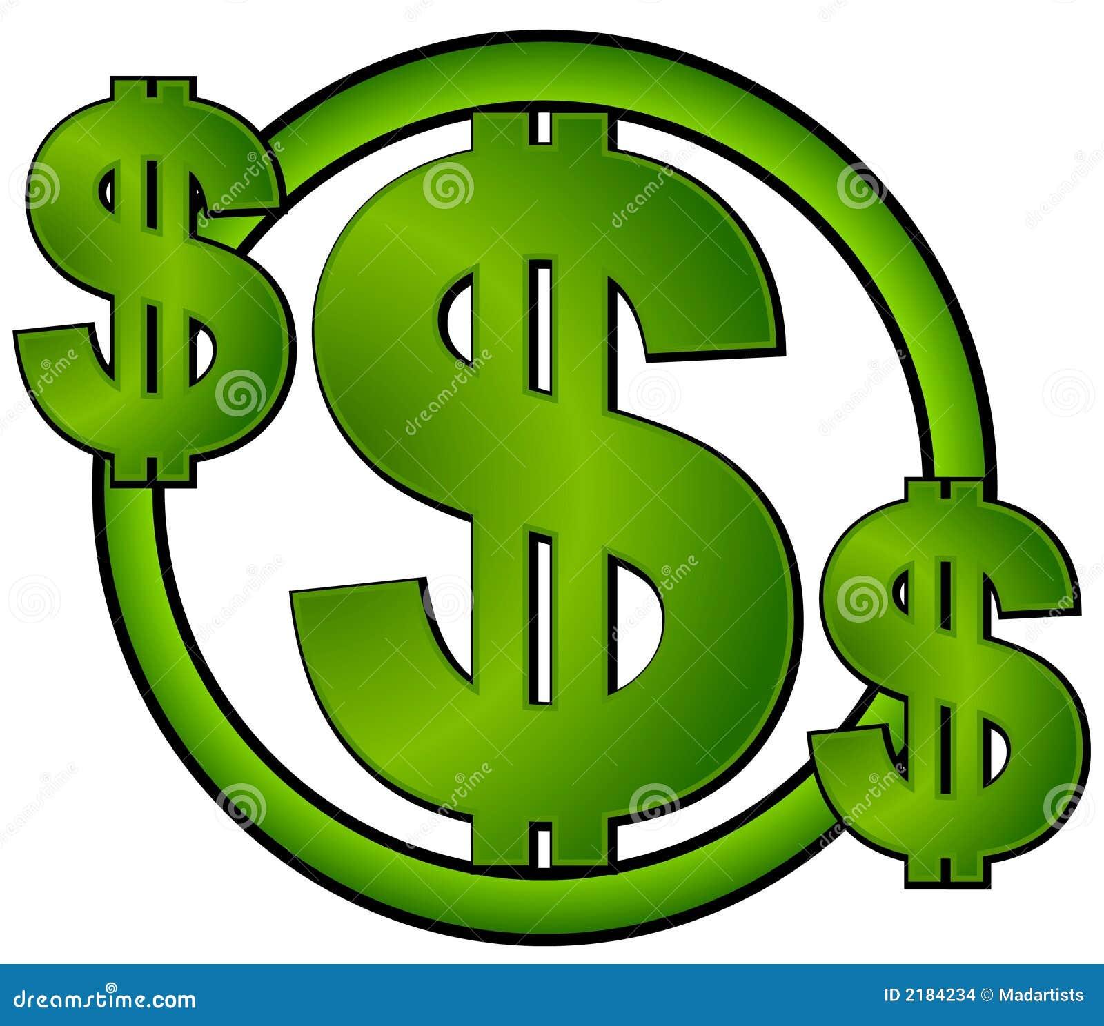 Il dollaro verde firma dentro un cerchio