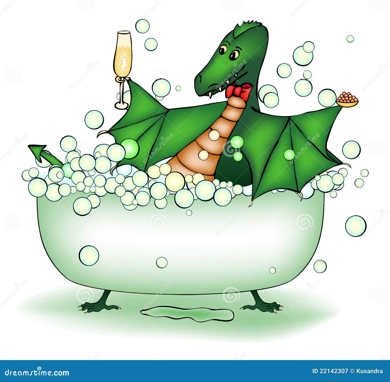 Il drago verde si distende nel bagno