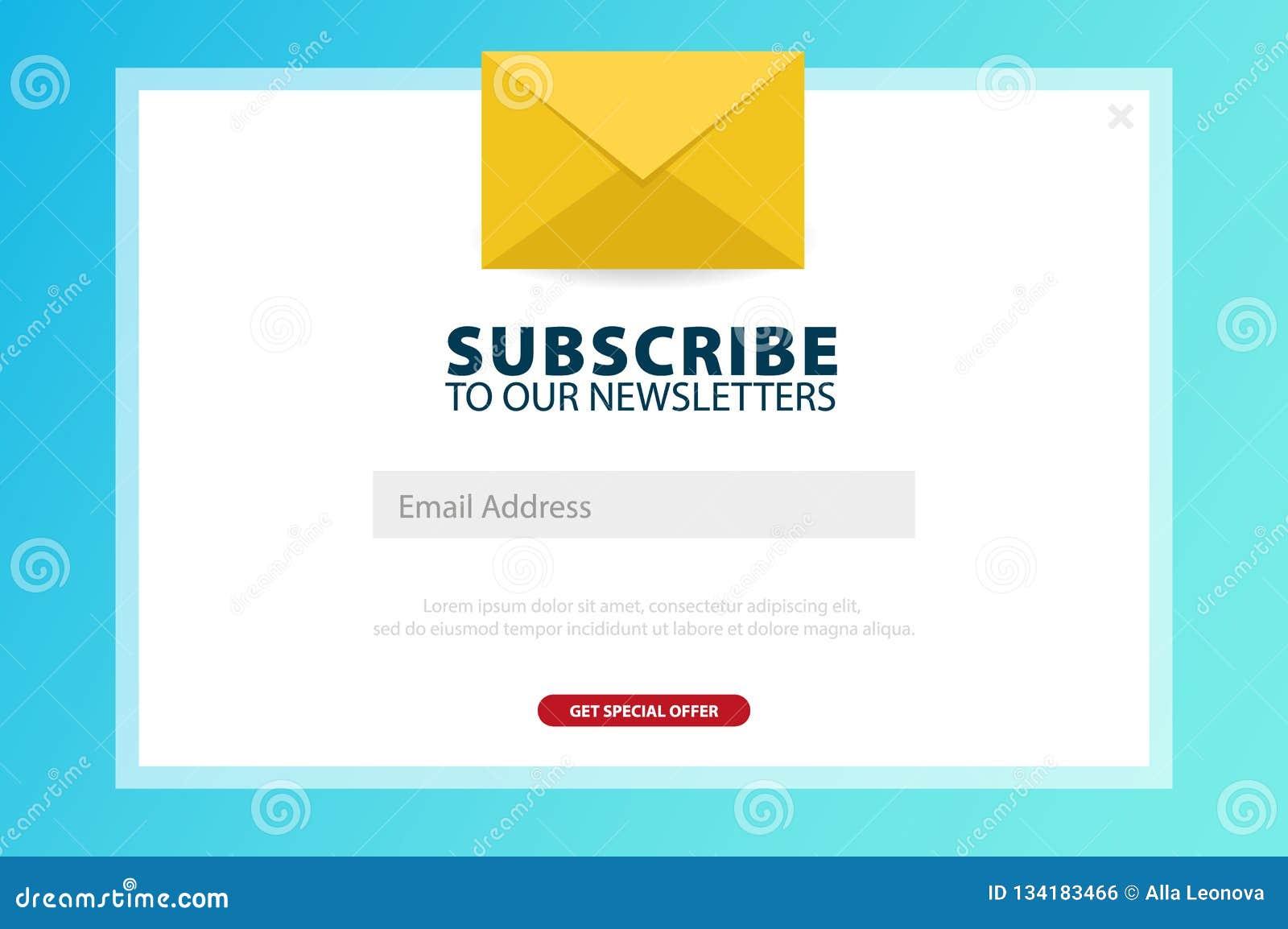 Il email sottoscrive, bollettino online, sottopone il bottone Busta e sottoscrivere bottone Progettazione di UI UX Illustrazione