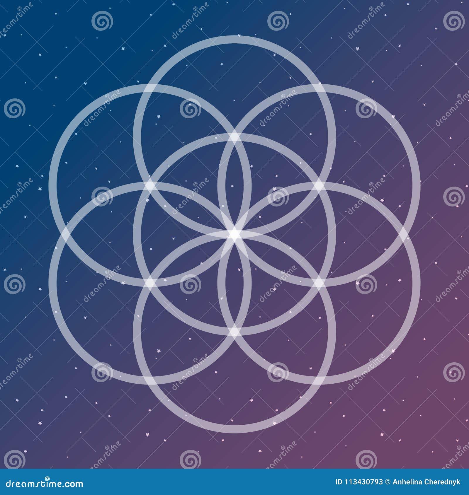 Il fiore del simbolo di vita su un collegamento cosmico circonda il sacco dello spazio