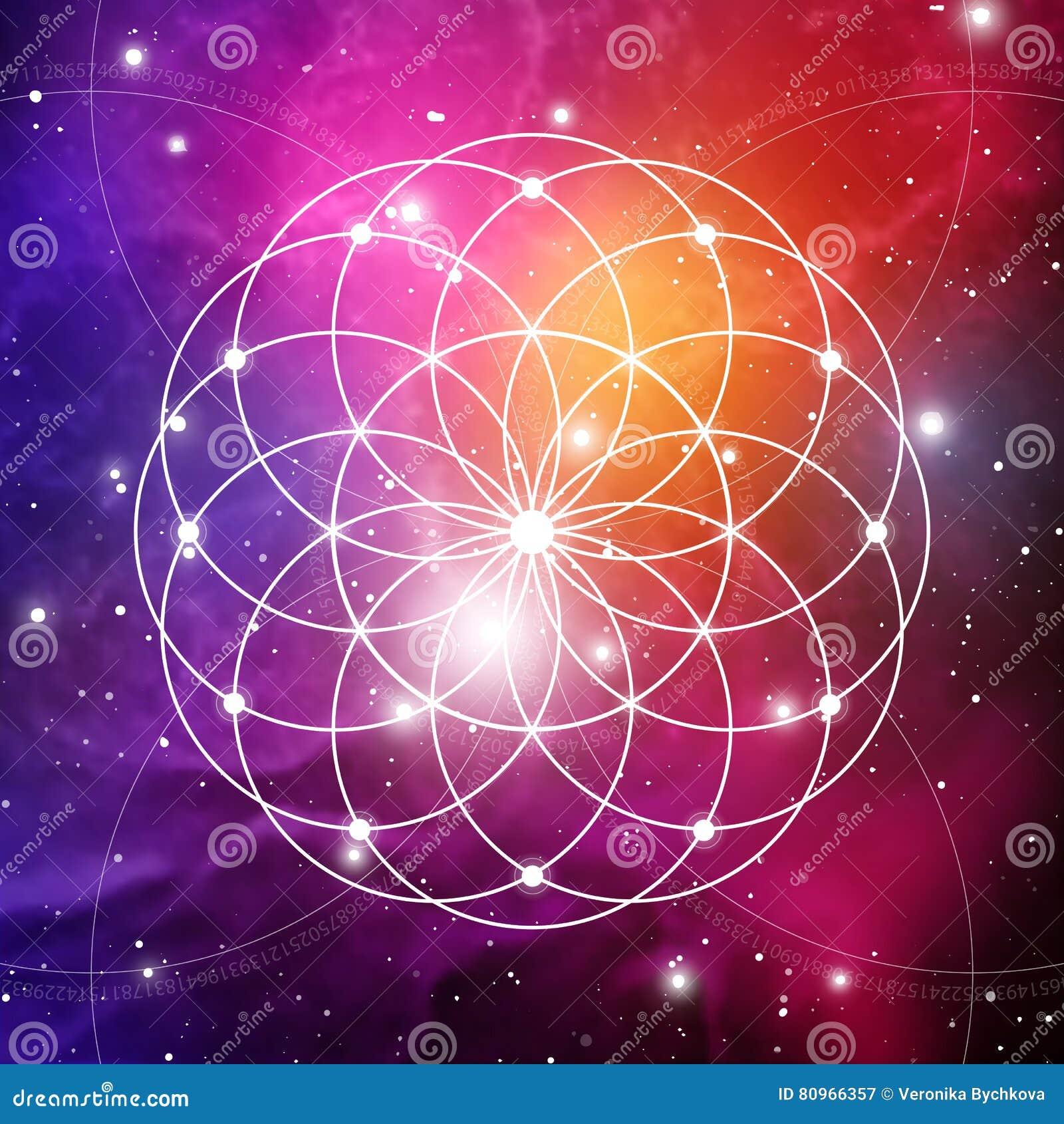 Il fiore di vita il collegamento circonda il simbolo antico sul fondo dello spazio cosmico La geometria sacra La formula della na