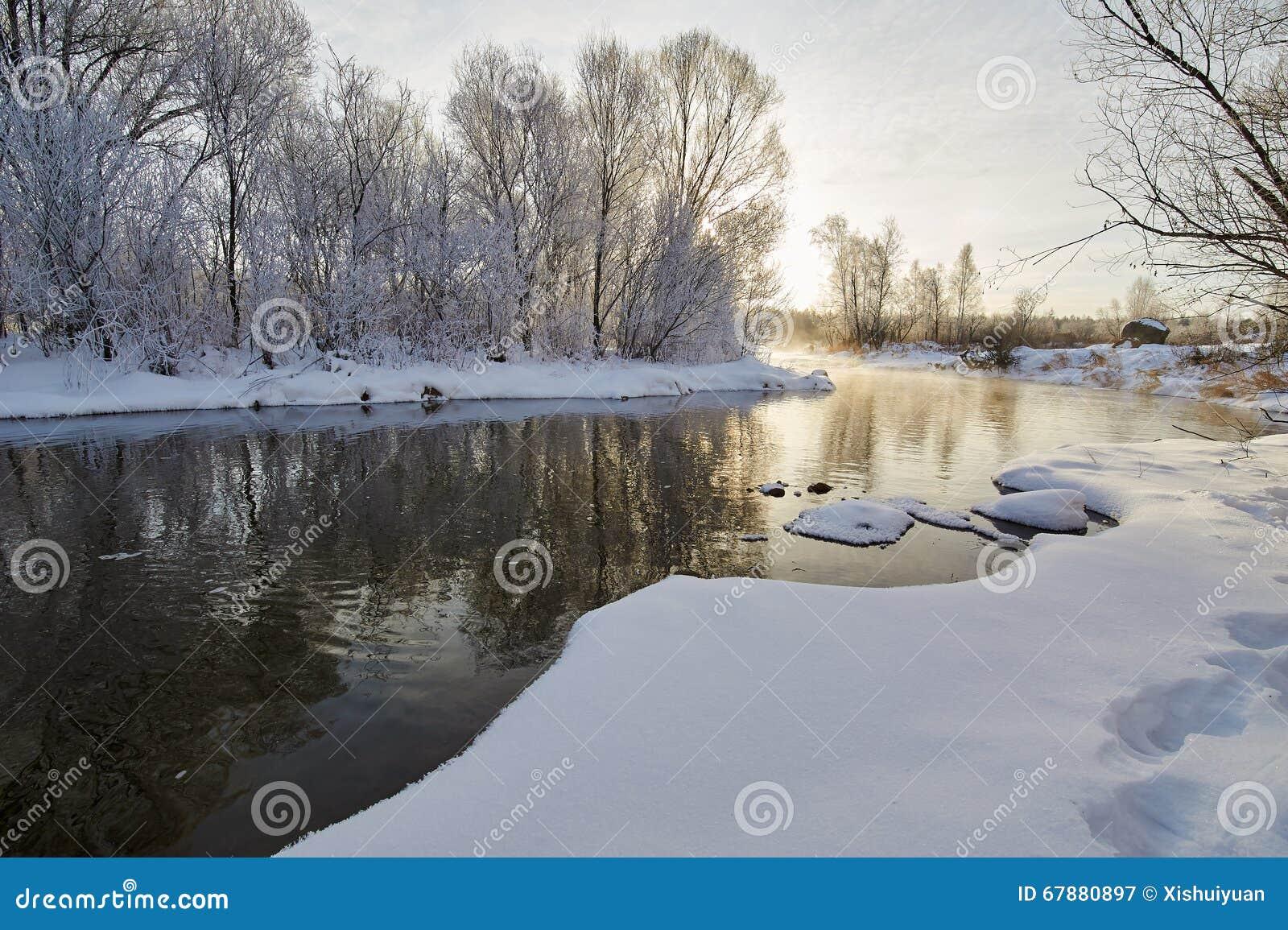 Il fiume di inverno ed il paesaggio morbido di brina