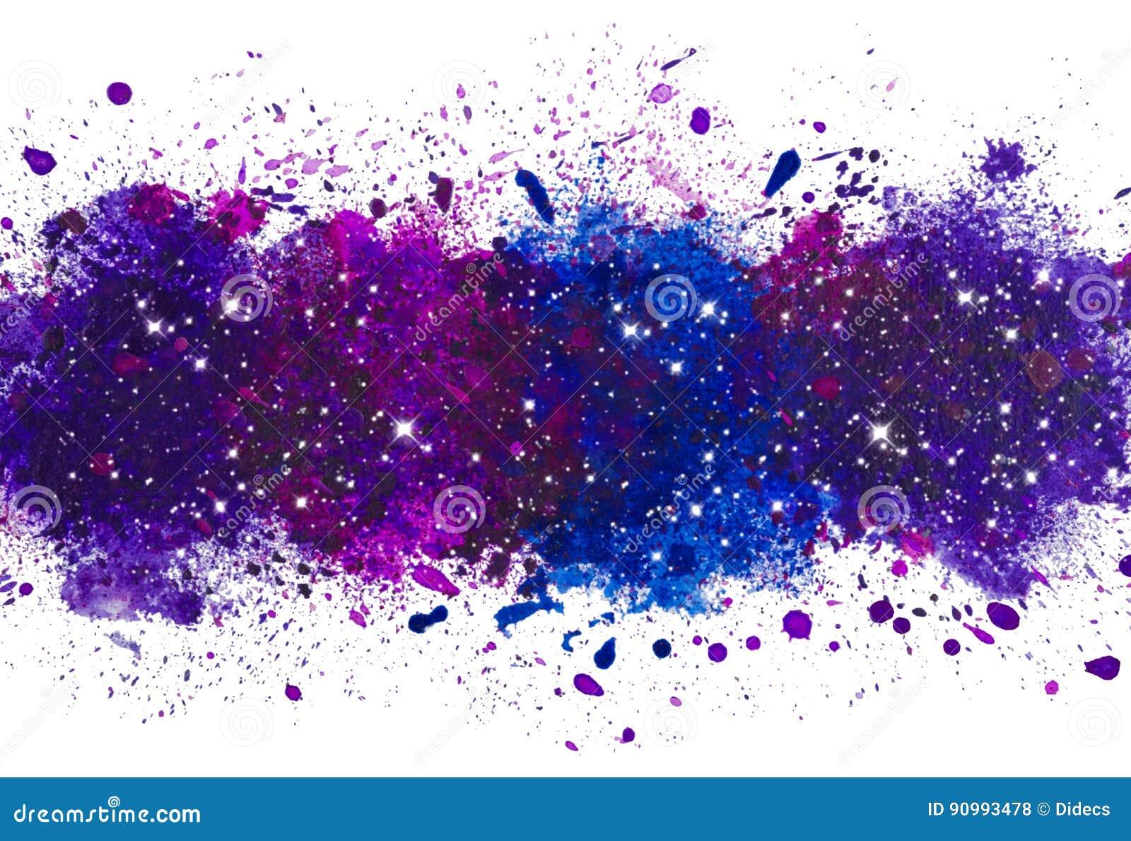 Il fondo artistico astratto della spruzzata della pittura dell acquerello, galassia con l ardore stars