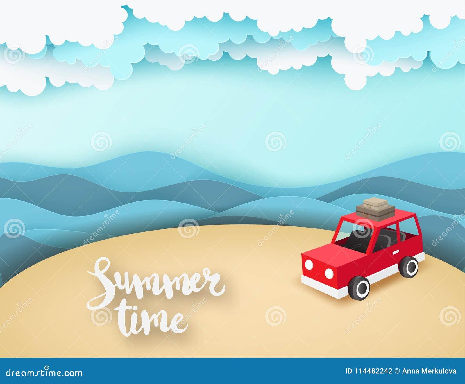 Il fondo di carta di arte con il parcheggio rosso alla spiaggia con il mare ondeggia