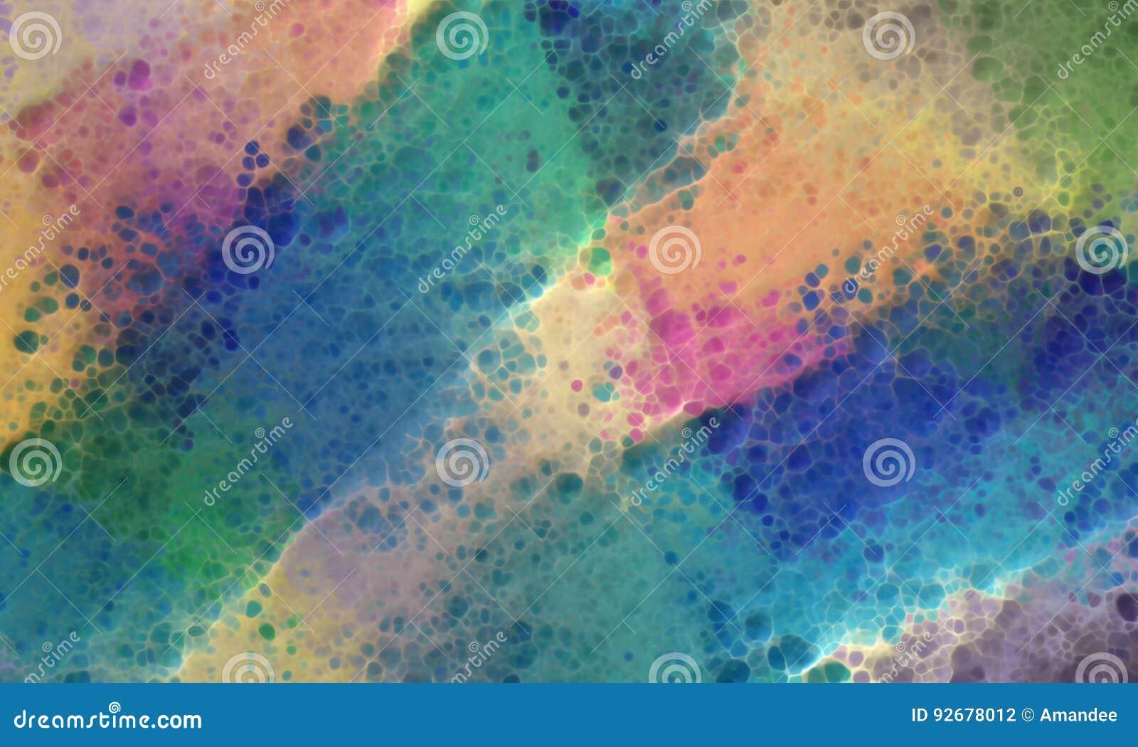 Il fondo variopinto astratto con struttura della pittura di lerciume 3d e spruzza di giallo rosa di verde blu dell alzavola e bei
