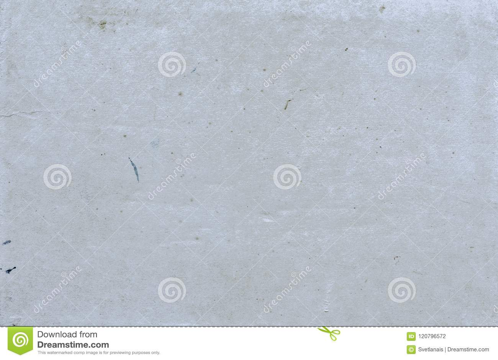 Il fondo vuoto grigio astratto con struttura visibile con la sporcizia macchia, punti della pittura, la cellulosa delle inclusion
