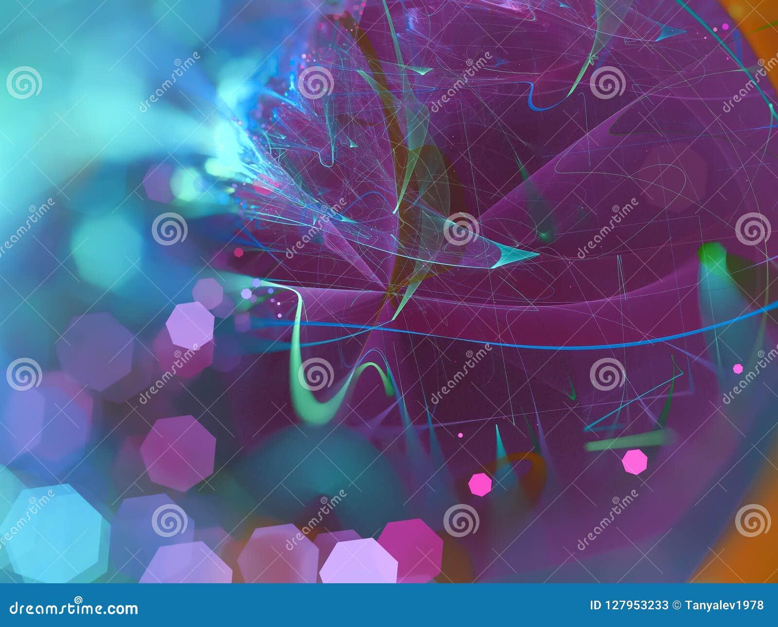 Il frattale digitale astratto, rende lo stile futuristico della carta da parati di fantasia etereo, partito