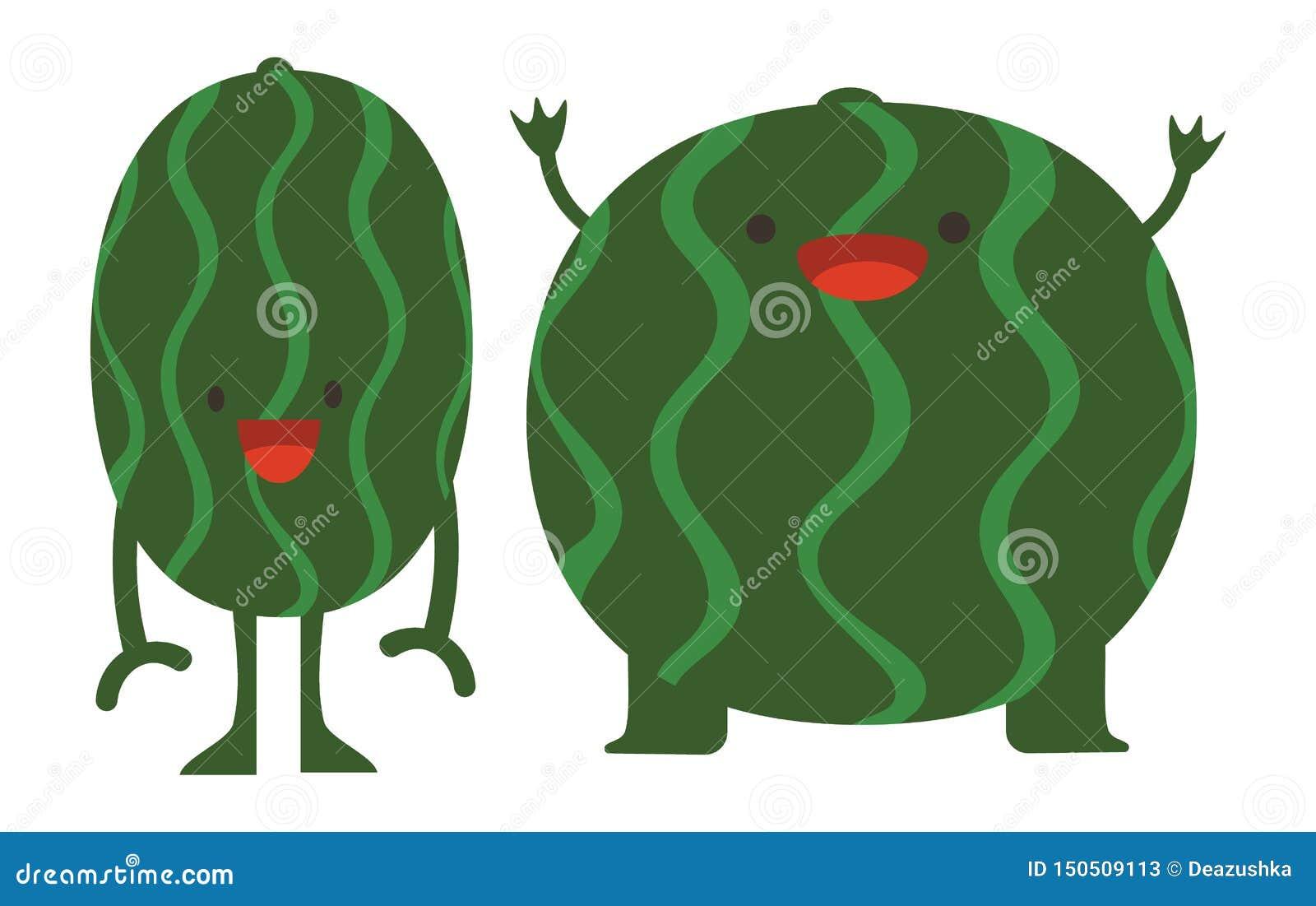Il fumetto della stampa scarabocchia i mostri piani dell anguria degli agrumi dell insieme di colore dell estate felici
