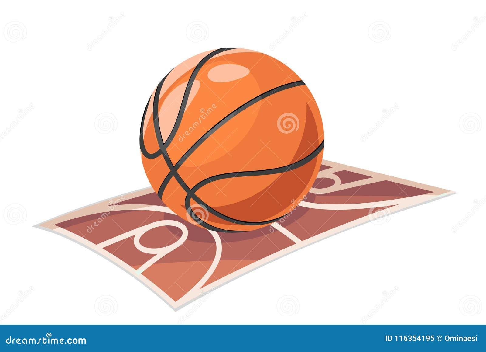 Il fumetto di sport di campo della palla di pallacanestro ha isolato l illustrazione di vettore dell icona