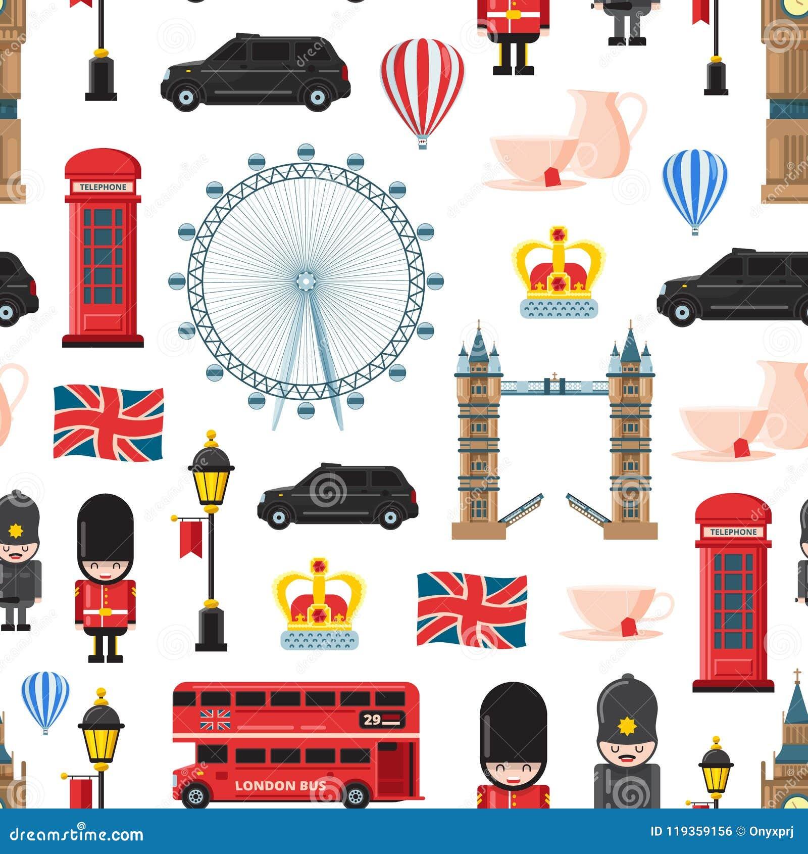 Il fumetto Londra di vettore avvista ed obietta l illustrazione del modello o del fondo