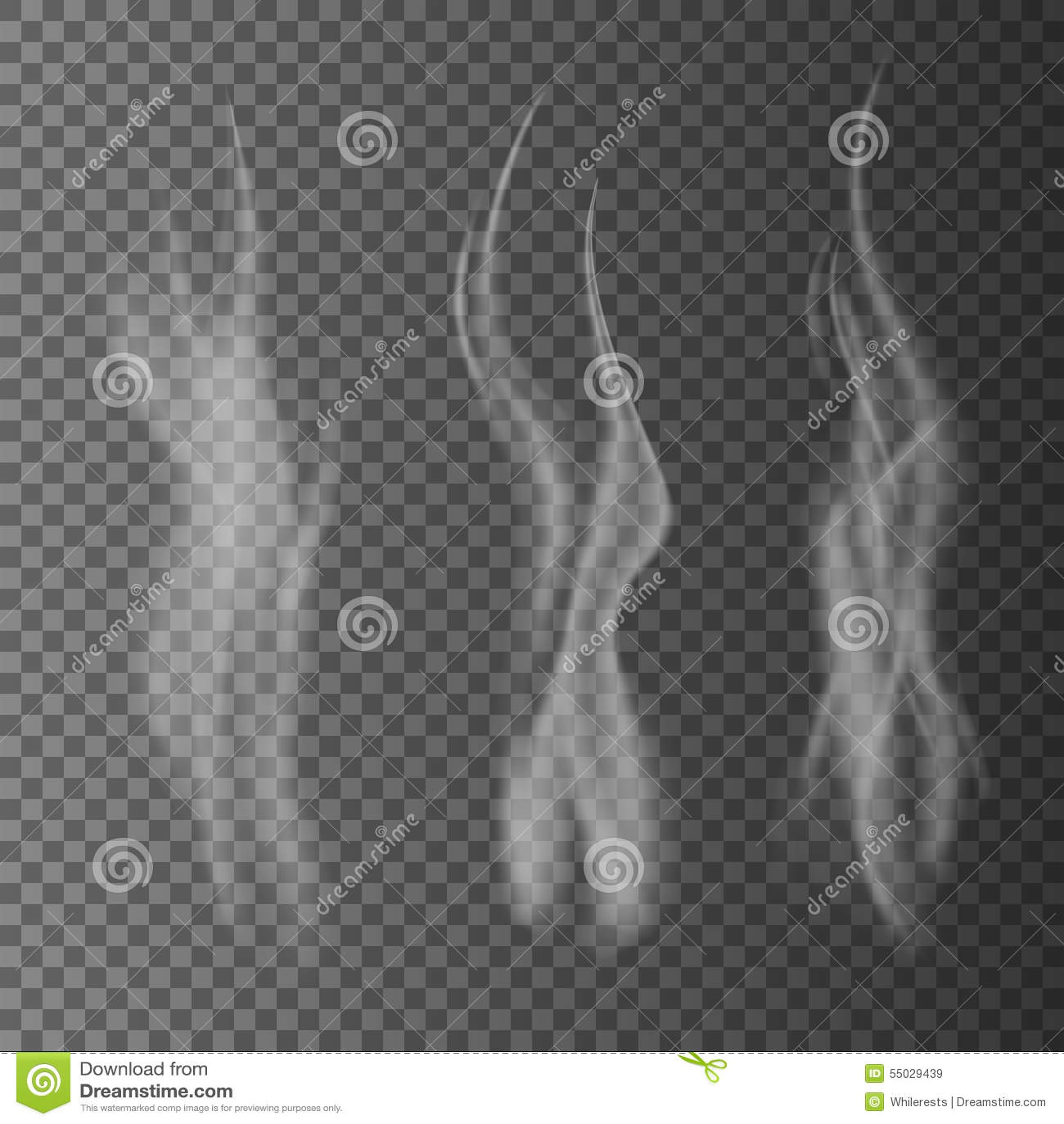 Il fumo bianco delicato della sigaretta ondeggia sull illustrazione trasparente di vettore del fondo