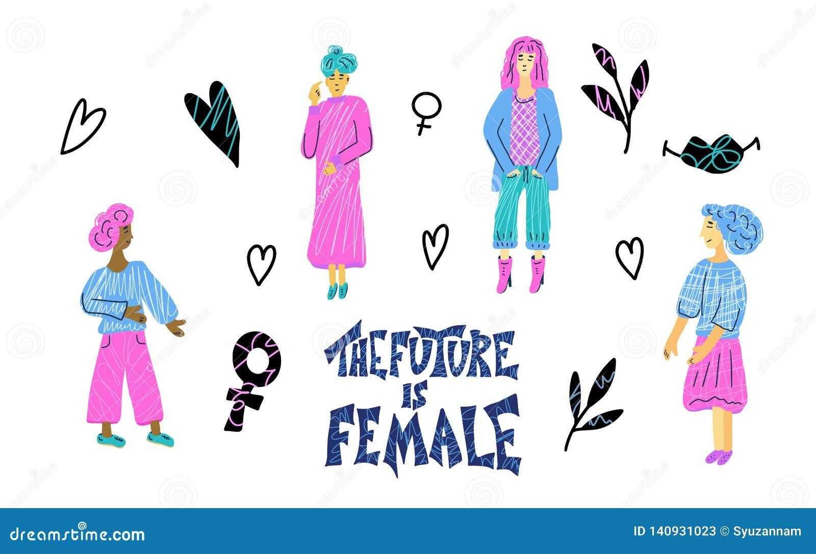 Il futuro è femminile Citazione disegnata a mano di vettore