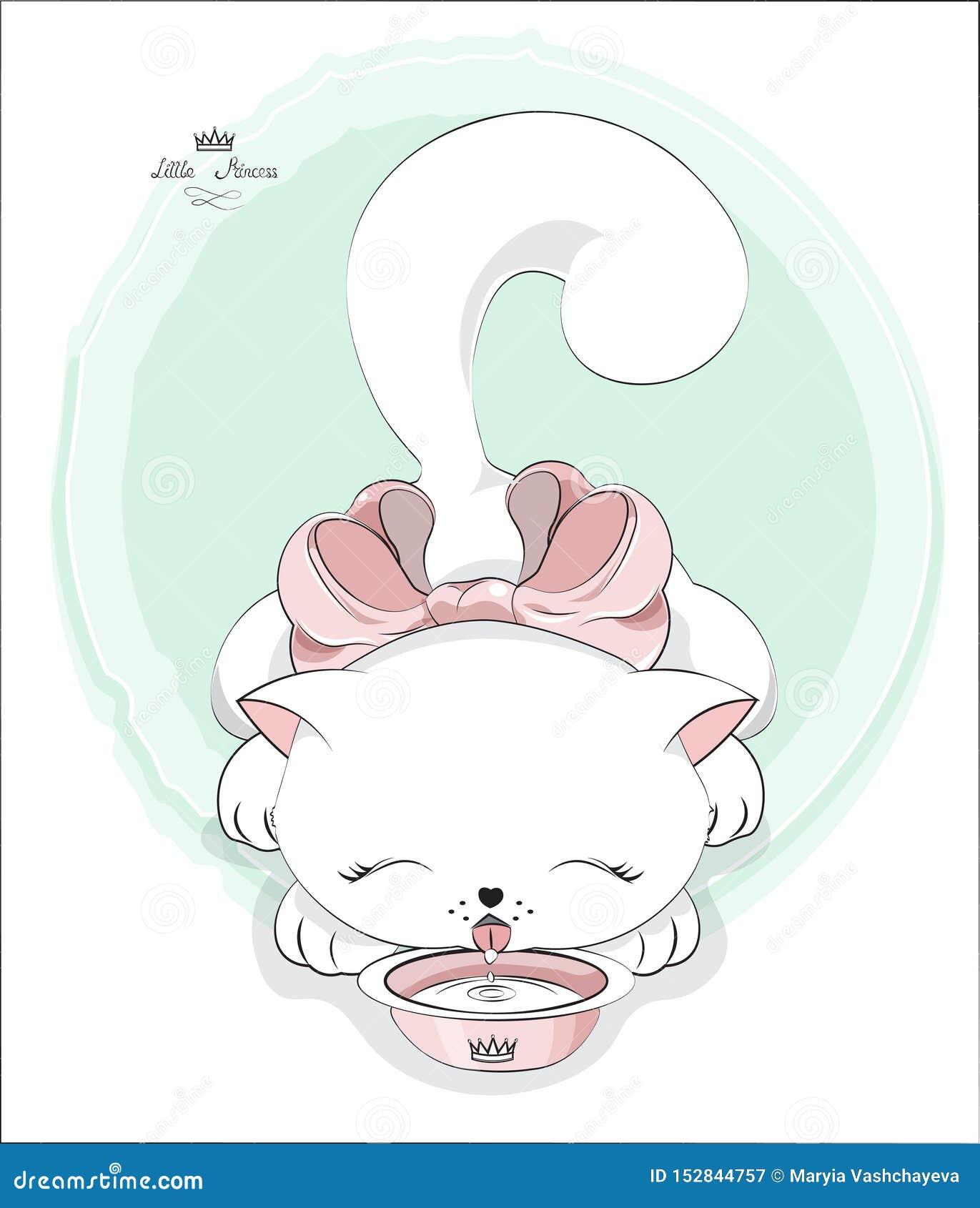 Il Gatto Del Libro Di Oloring Beve Il Latte Illustrazione