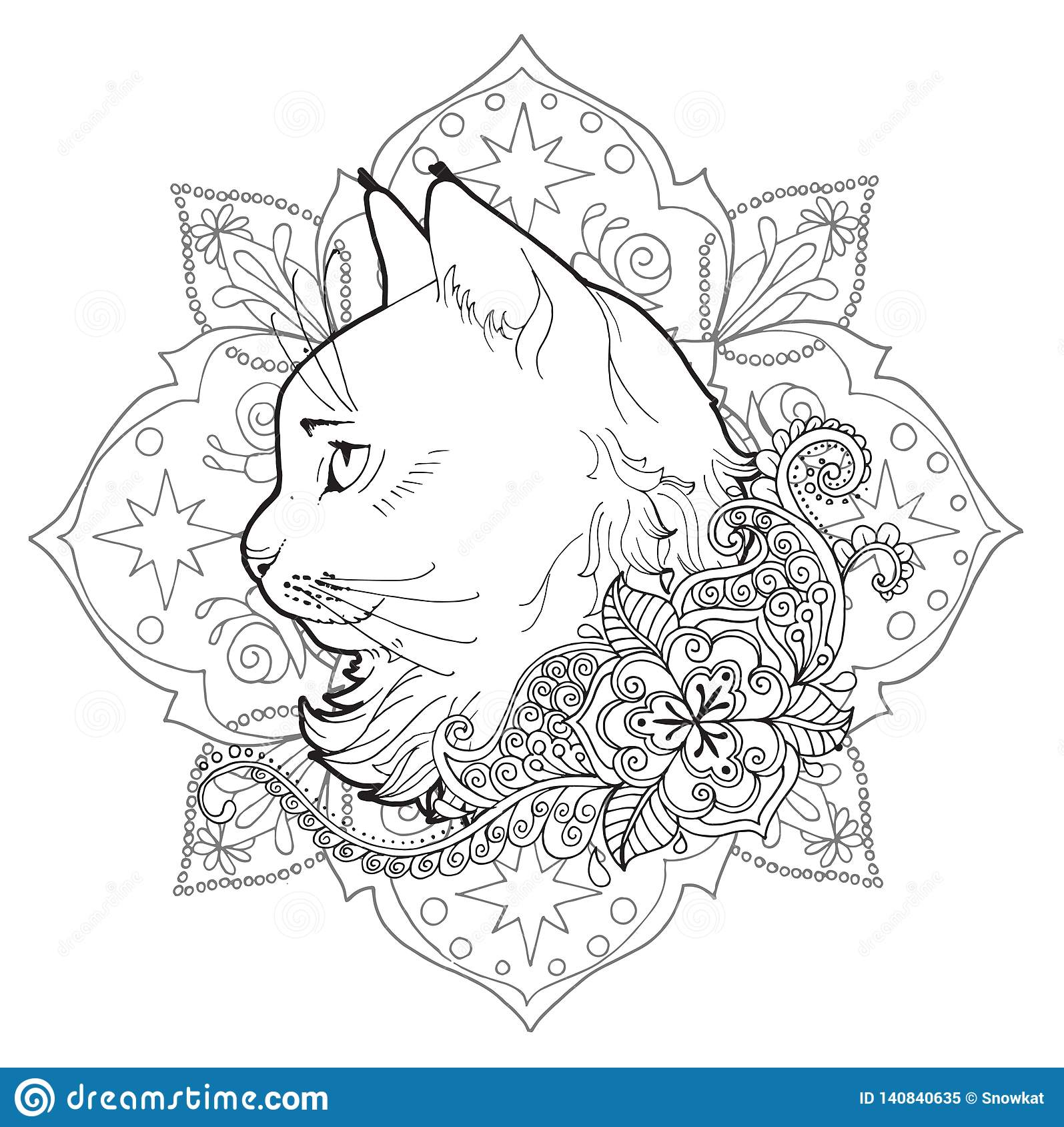 Il Gatto E La Mandala Libro Di Coloritura Illustrazione