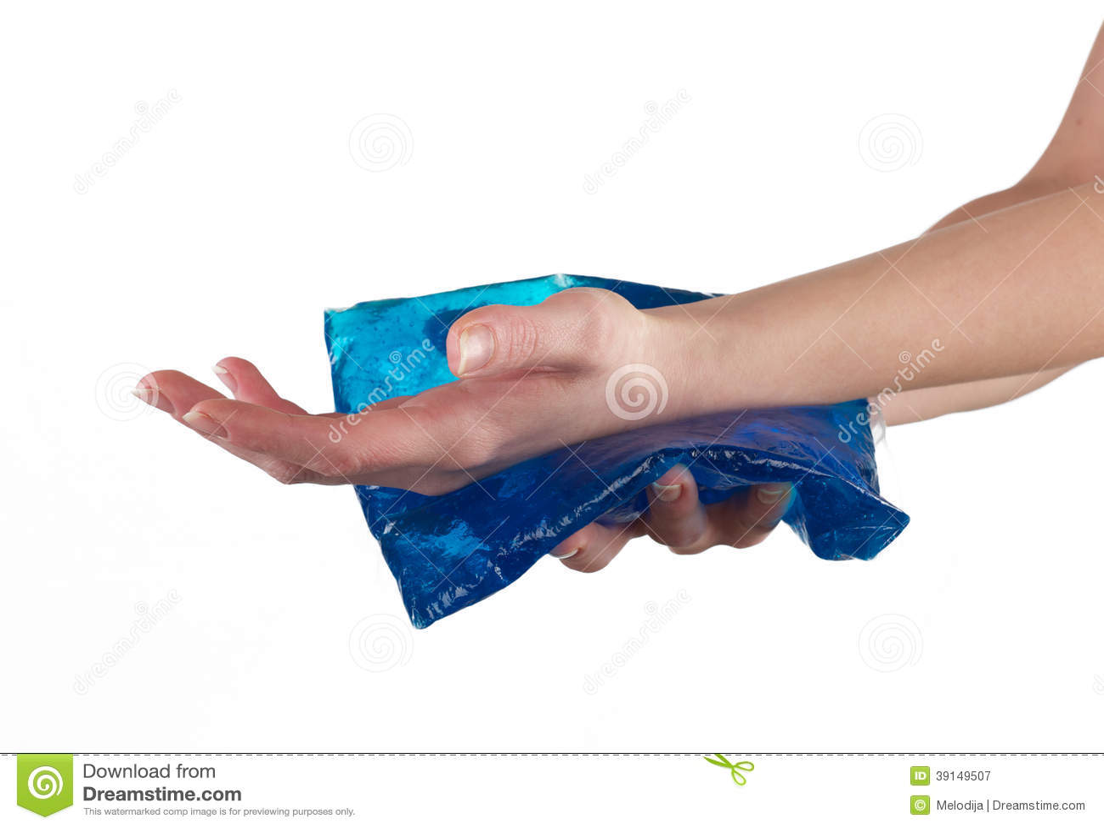 Il gel fresco ingrassa un polso danneggiante gonfiato.